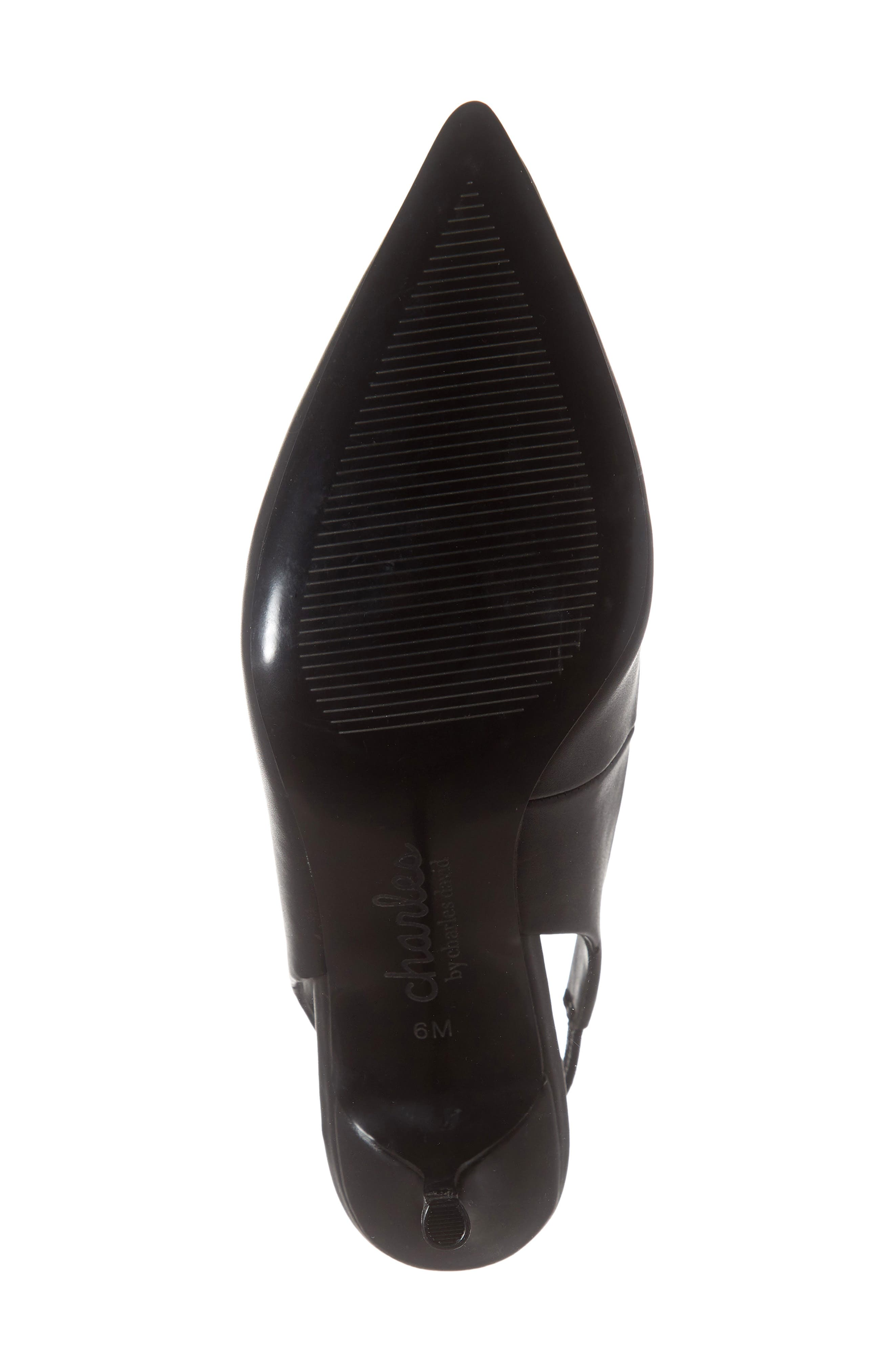 CHARLES BY CHARLES DAVID, Amy Slingback Pump, Alternate thumbnail 6, color, BLACK FAUX LEATHER