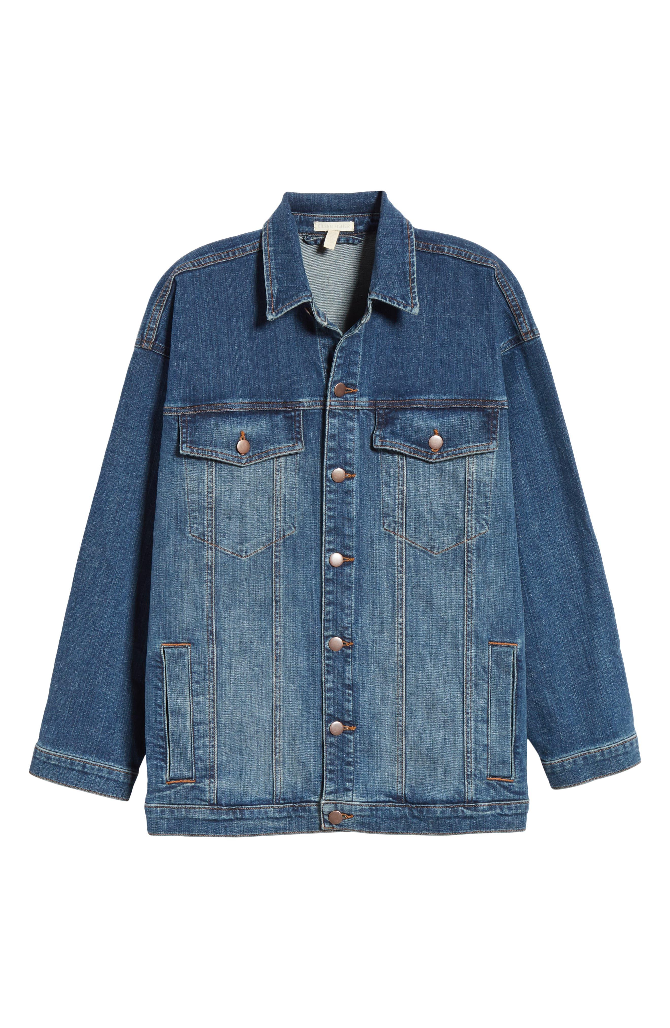 EILEEN FISHER, Oversize Stretch Organic Cotton Denim Jacket, Alternate thumbnail 6, color, AGED INDIGO