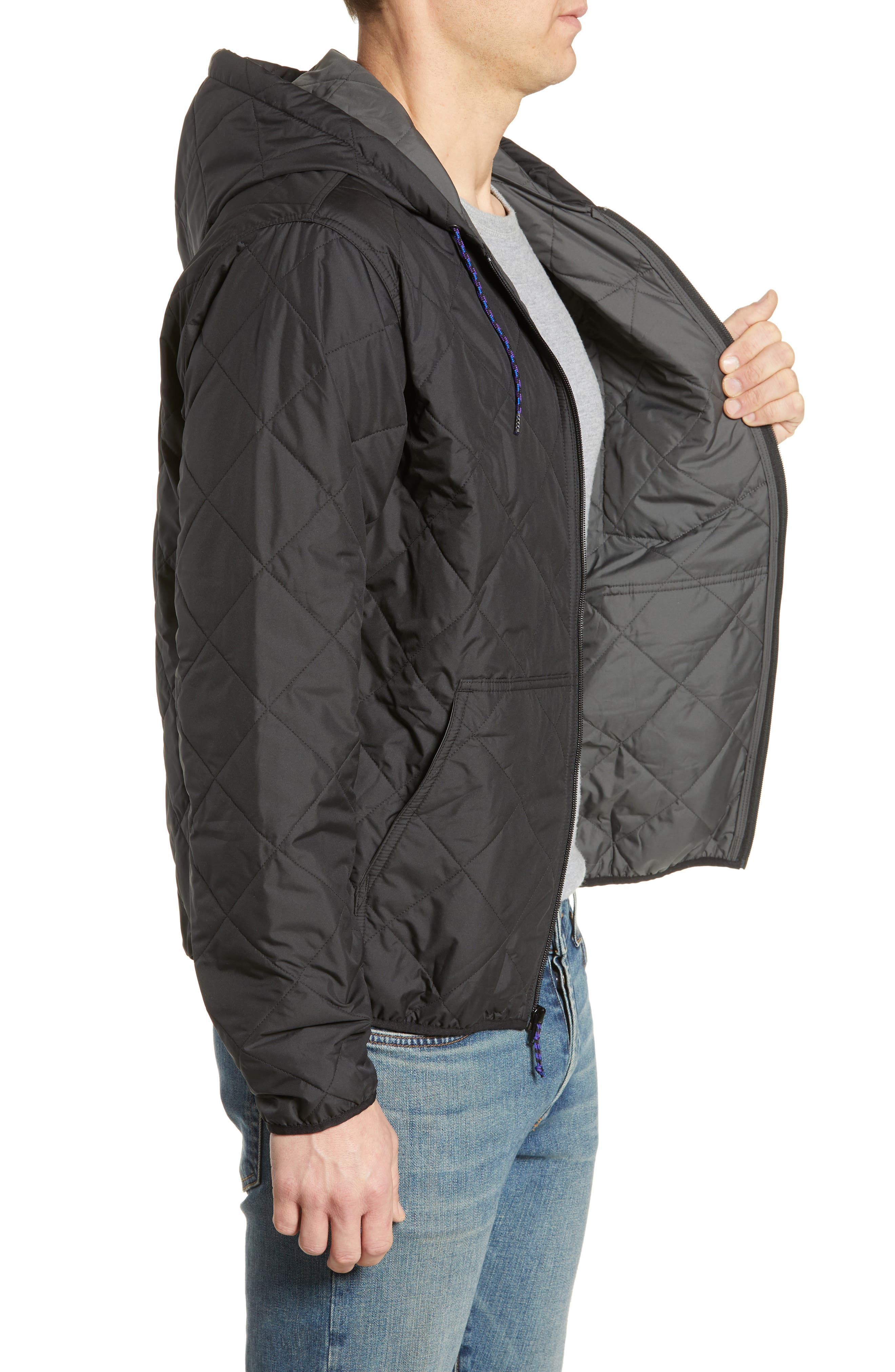 PATAGONIA, Diamond Quilt Ripstop Hooded Jacket, Alternate thumbnail 4, color, 001