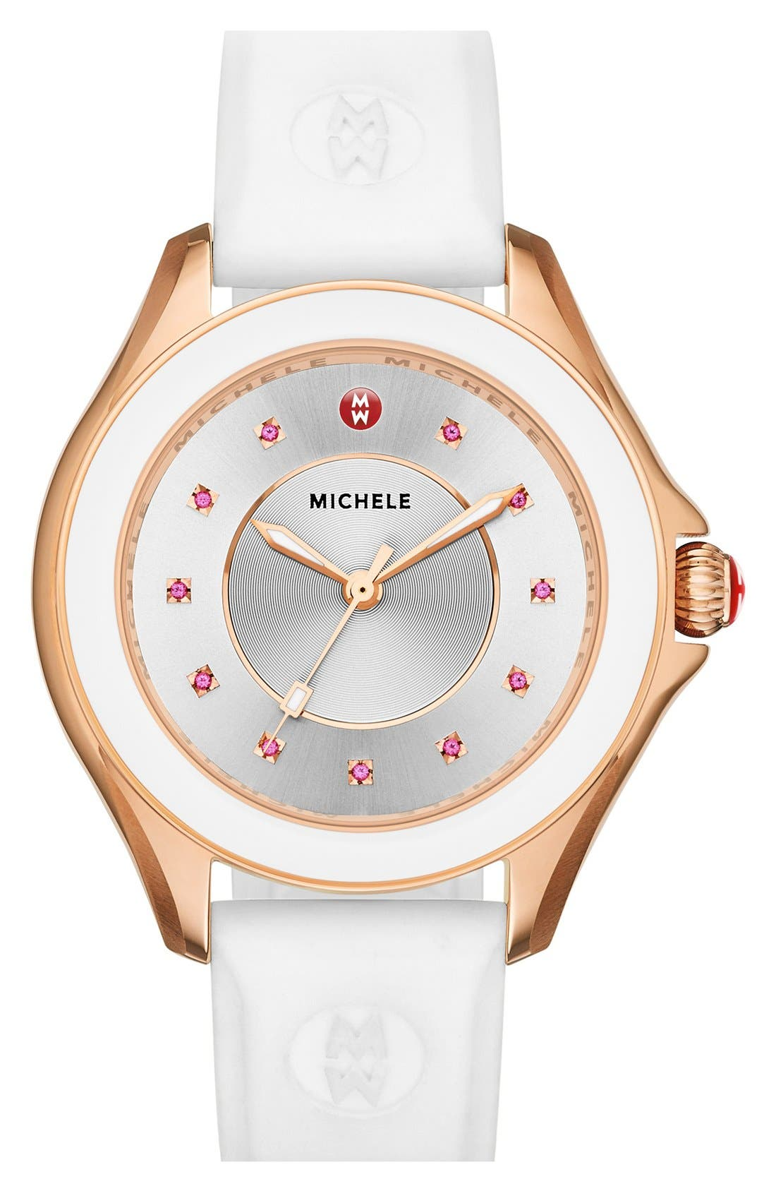 MICHELE, Cape Topaz Dial Silicone Strap Watch, 40mm, Main thumbnail 1, color, 100
