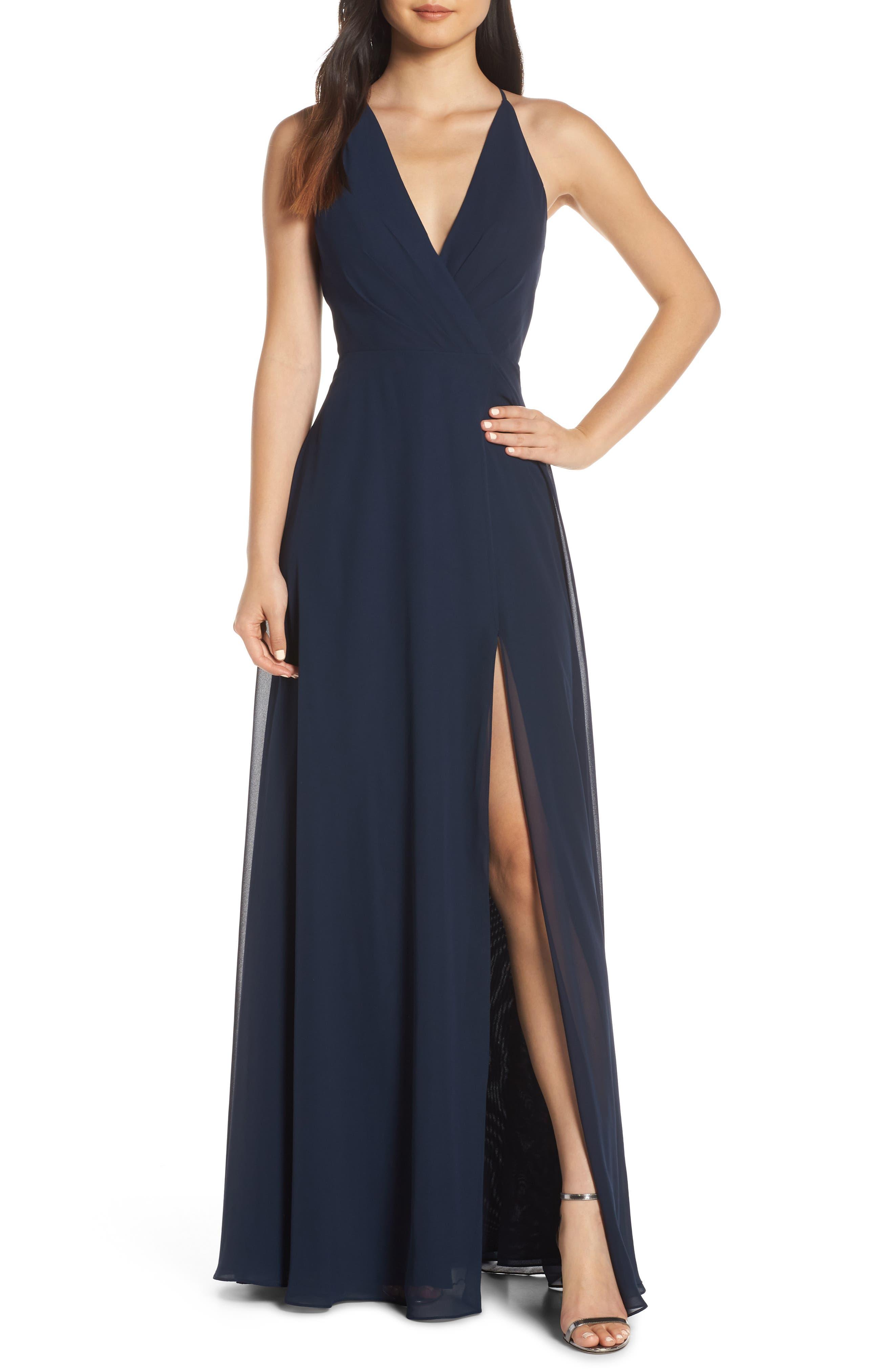 JENNY YOO, Bryce Surplice V-Neck Chiffon Evening Dress, Main thumbnail 1, color, NAVY