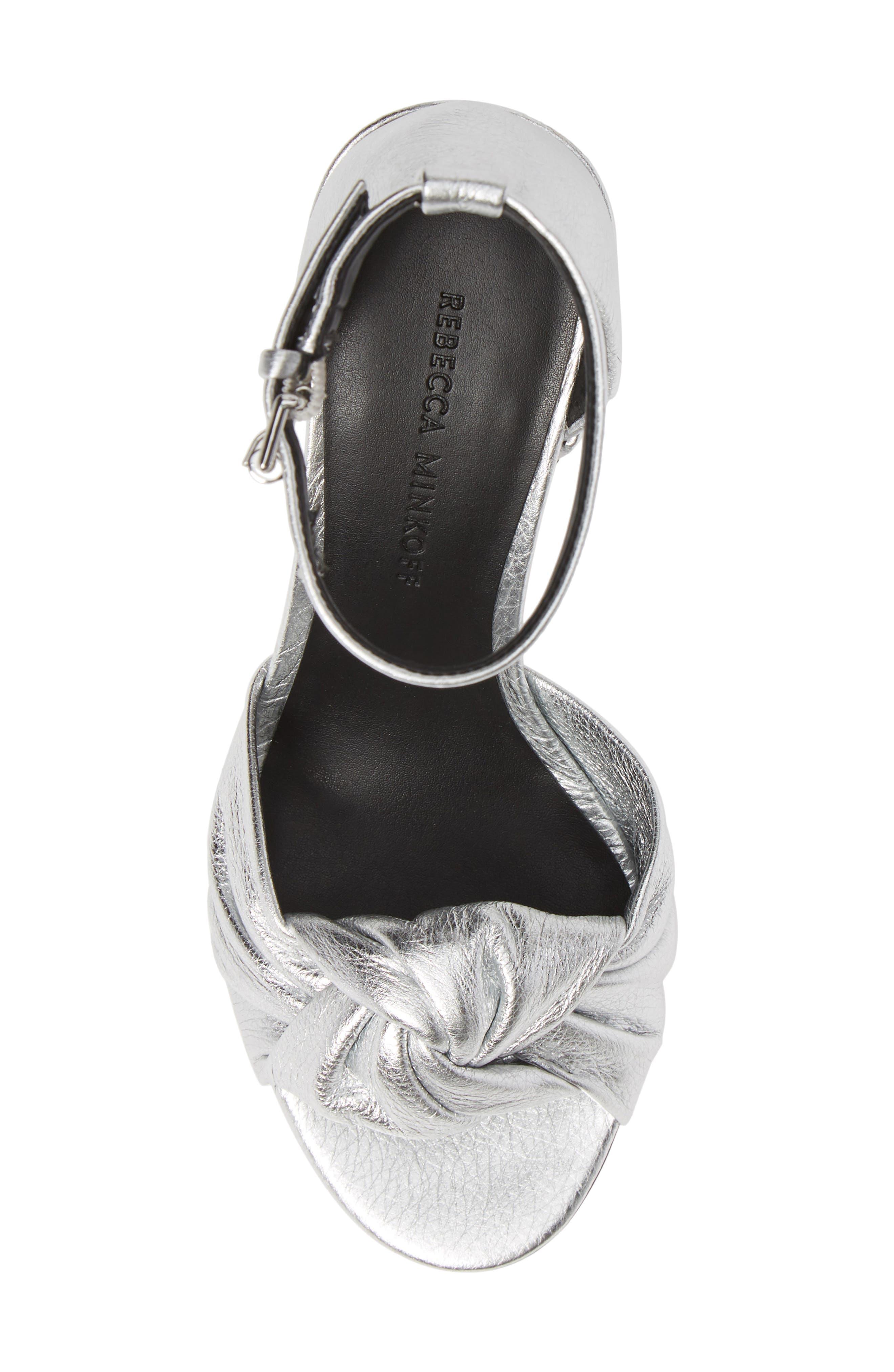 REBECCA MINKOFF, Capriana Ankle Strap Sandal, Alternate thumbnail 5, color, SILVER LEATHER