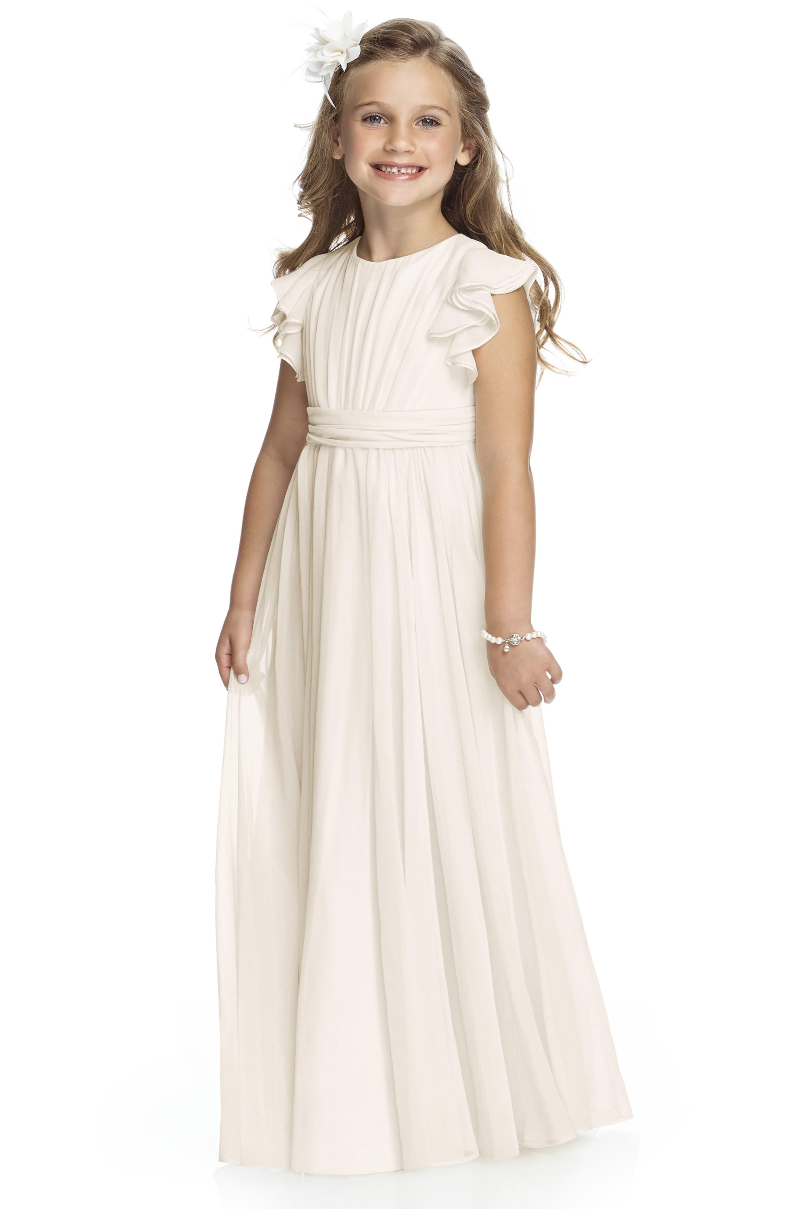 Girls Dessy Collection Long Chiffon Flower Girl Dress Size 10  Ivory