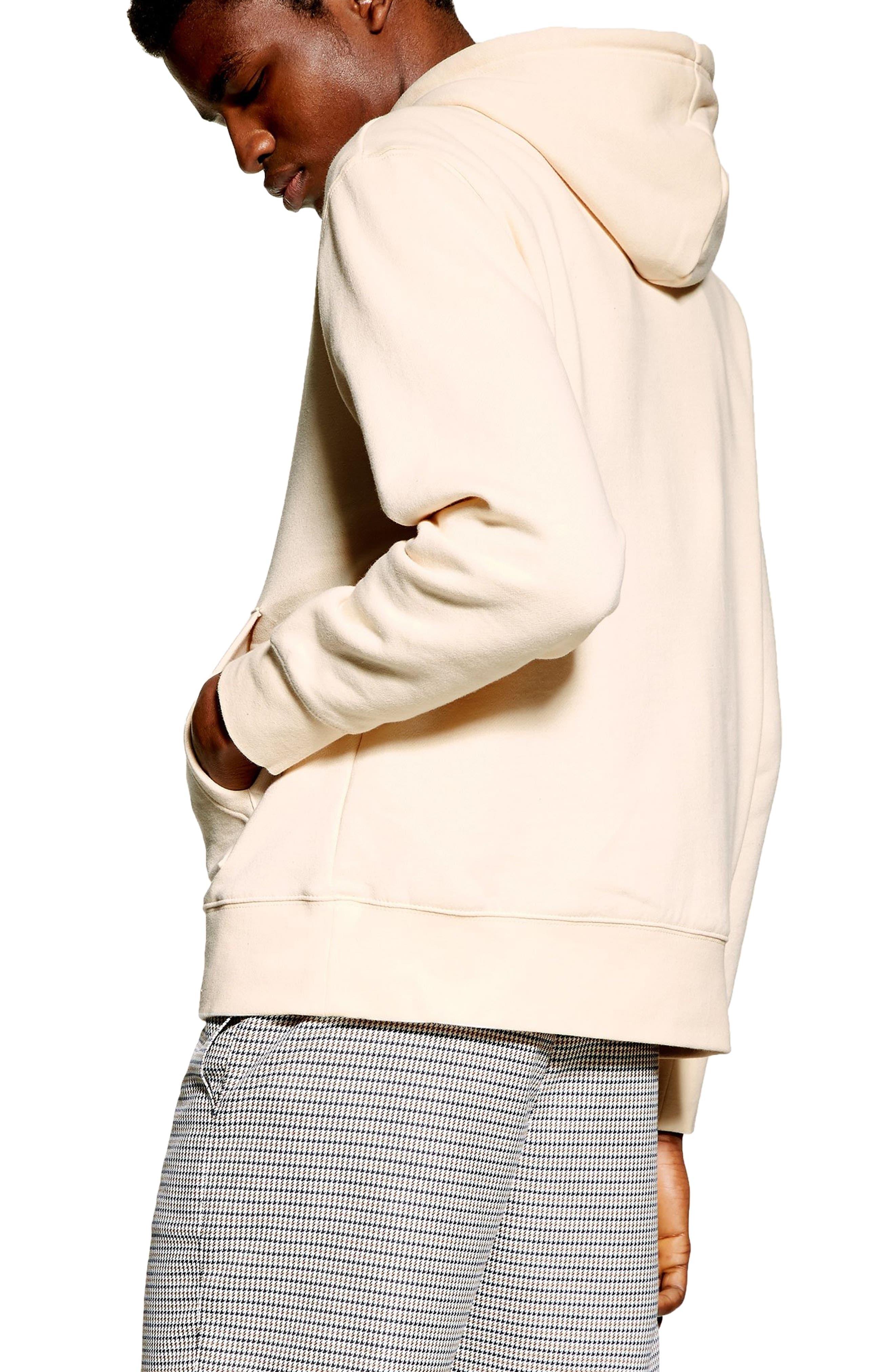 TOPMAN, Tristan Hooded Sweatshirt, Alternate thumbnail 2, color, STONE