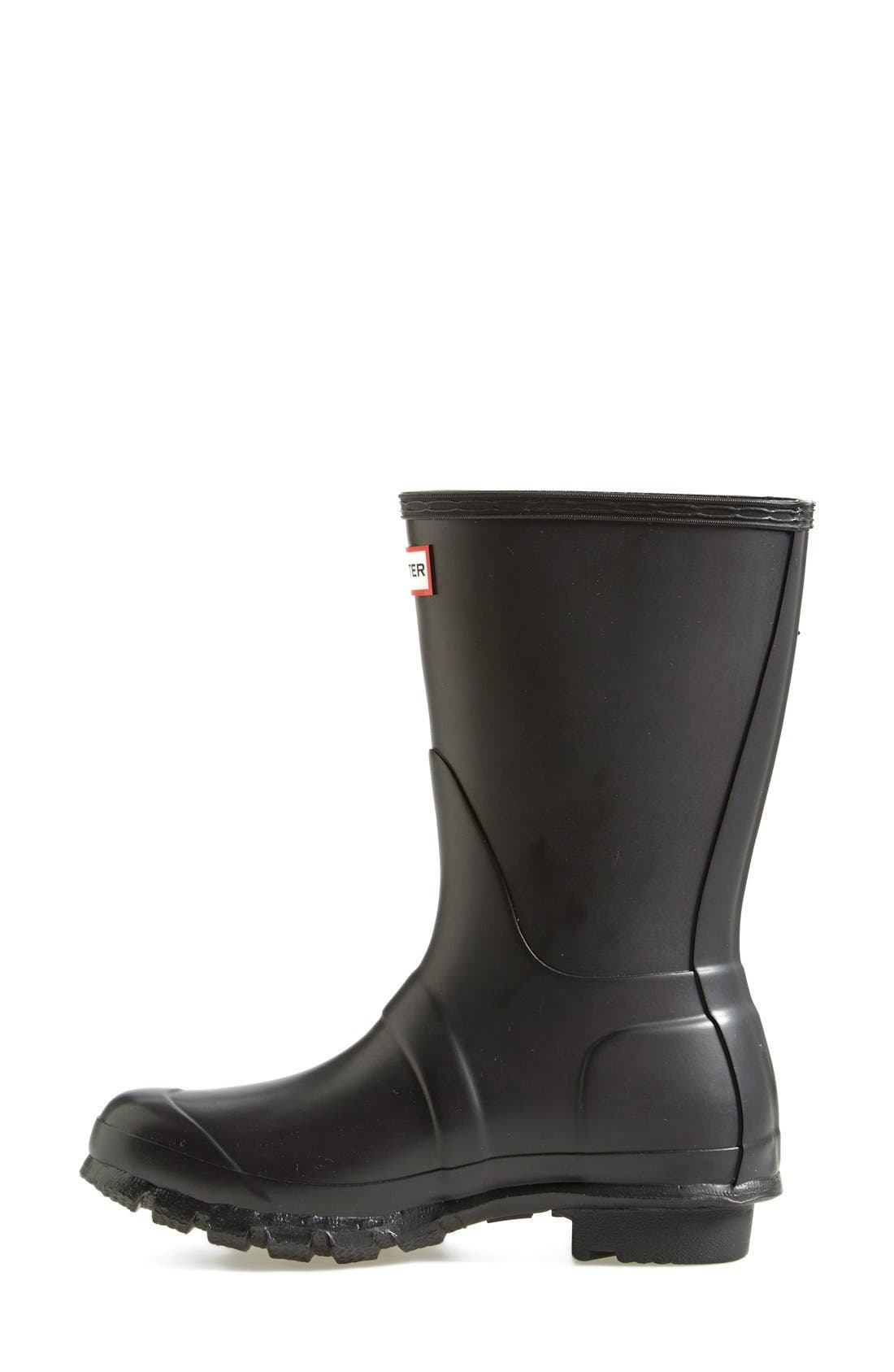 HUNTER, Original Short Waterproof Rain Boot, Alternate thumbnail 2, color, BLACK MATTE