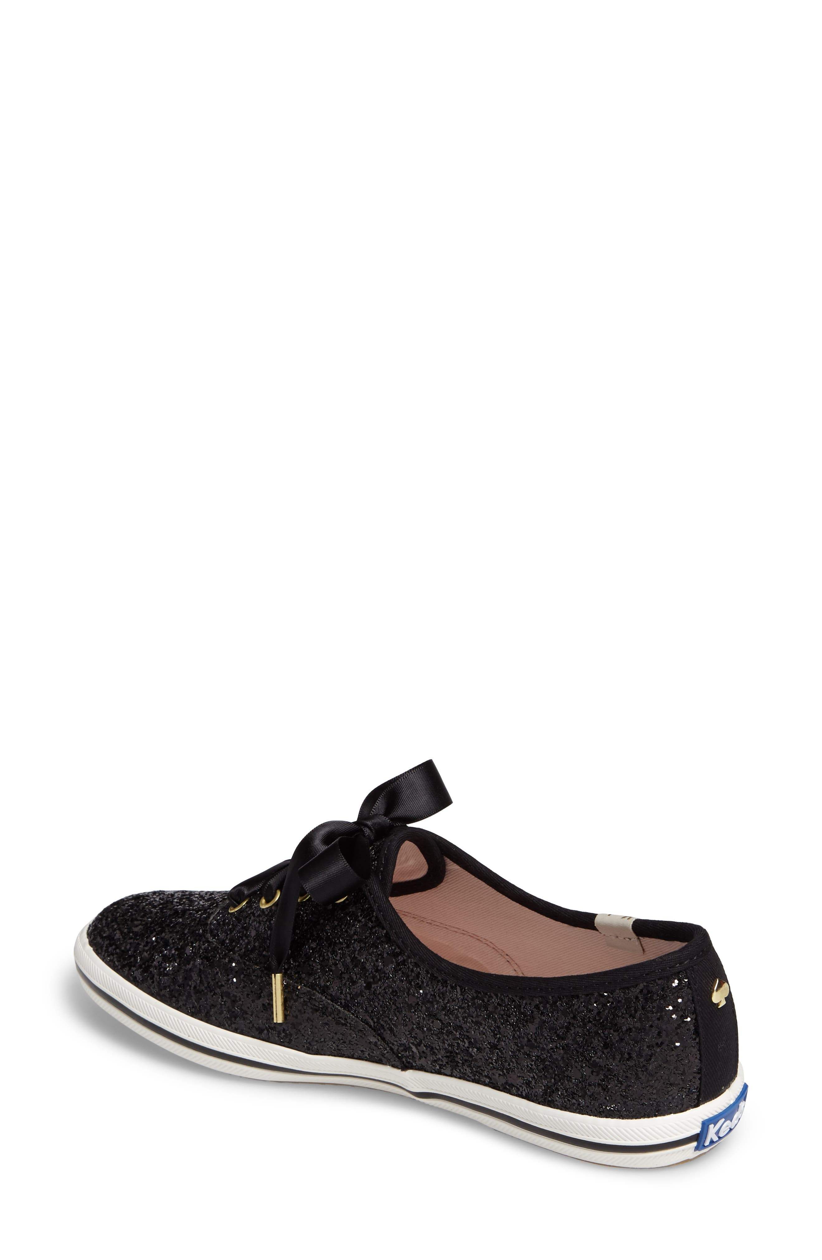 KEDS<SUP>®</SUP> FOR KATE SPADE NEW YORK, glitter sneaker, Alternate thumbnail 2, color, BLACK