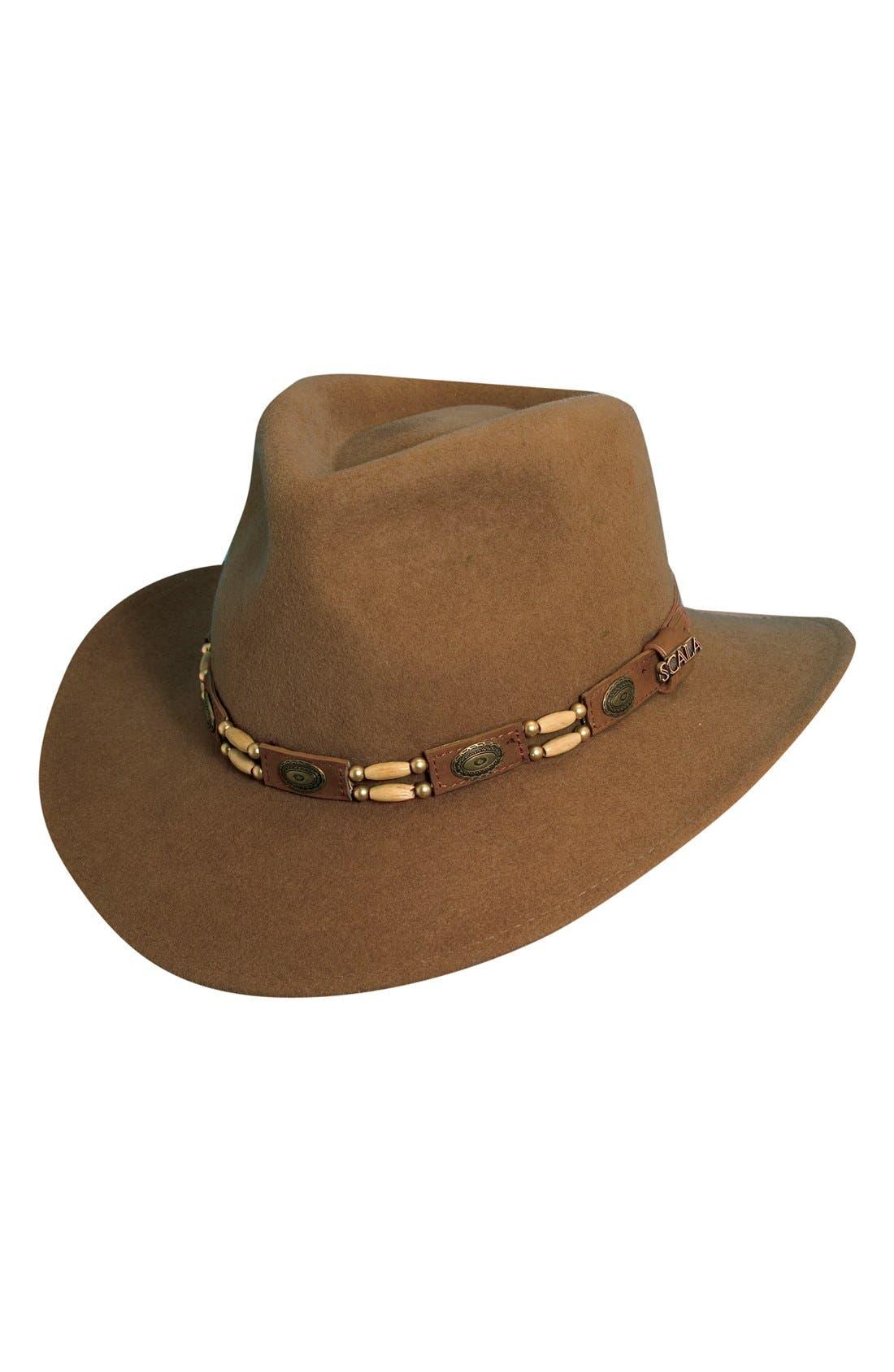 SCALA, Crushable Wool Felt Outback Hat, Main thumbnail 1, color, PECAN
