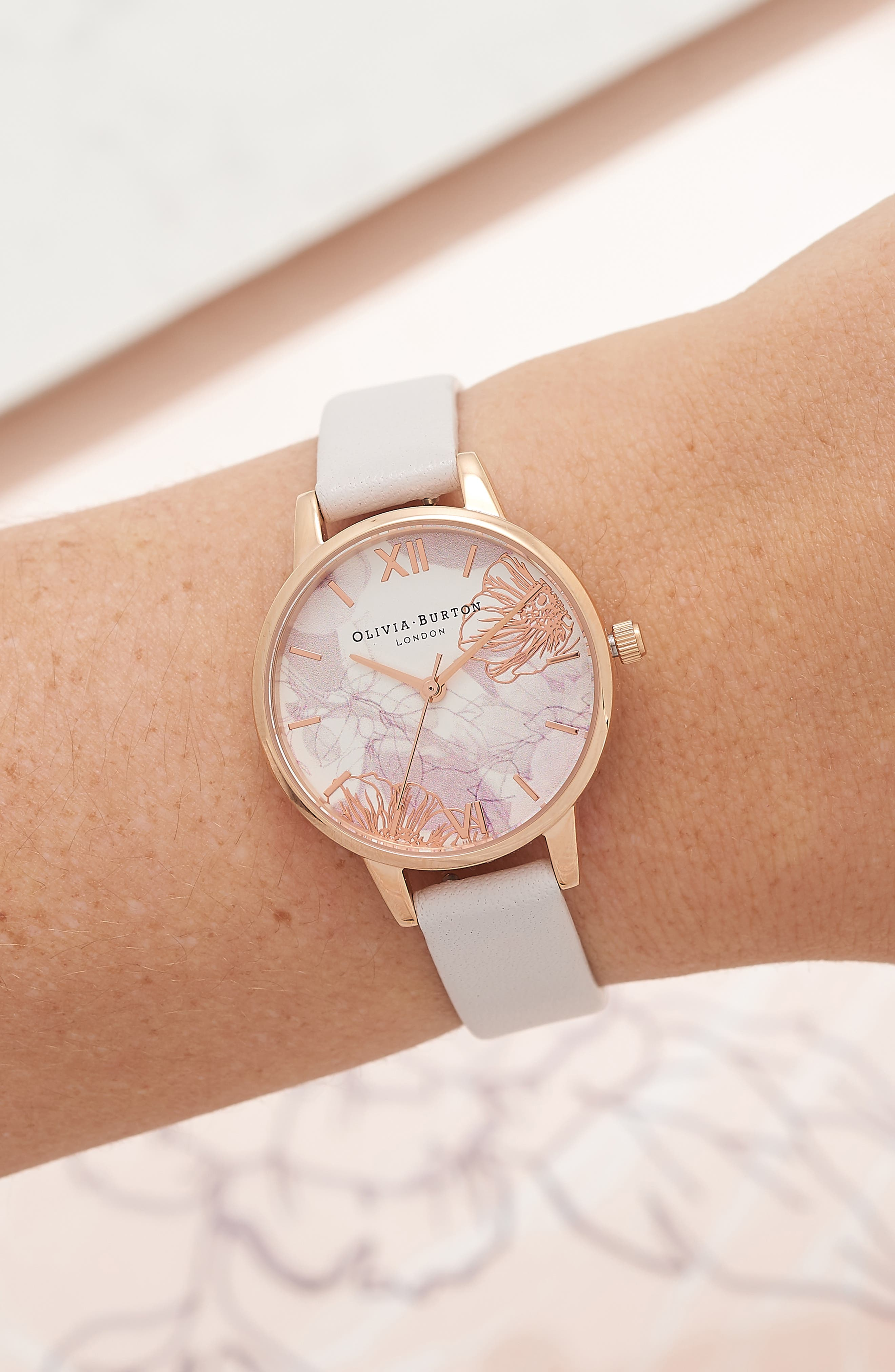 OLIVIA BURTON, Abstract Florals Leather Strap Watch, 30mm, Alternate thumbnail 2, color, BLUSH/ ROSE GOLD
