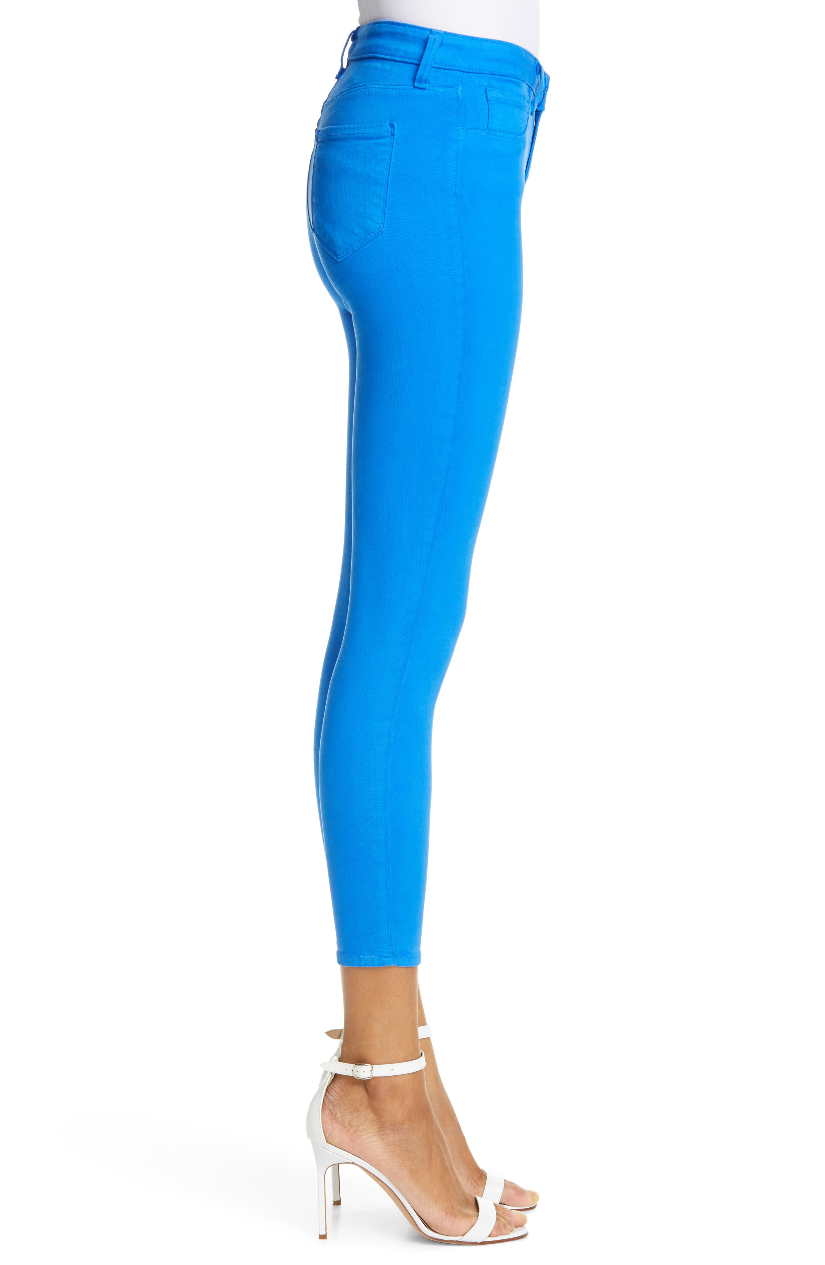 L'AGENCE, High Waist Skinny Ankle Jeans, Alternate thumbnail 4, color, RIVIERA BLUE