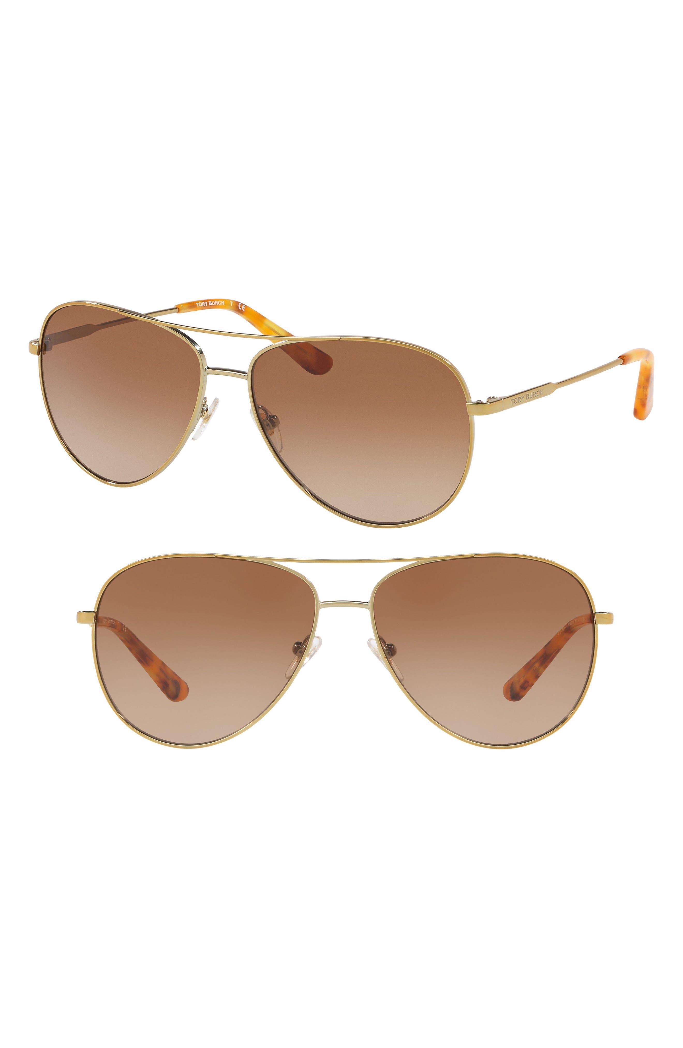 TORY BURCH, 59mm Metal Aviator Sunglasses, Alternate thumbnail 2, color, 710