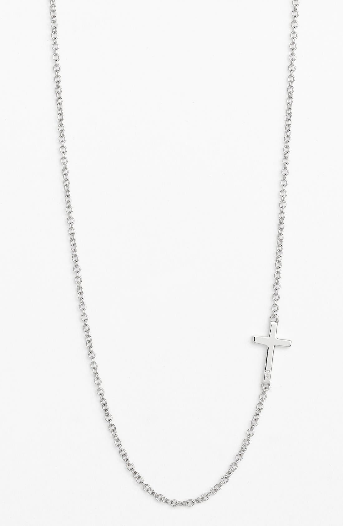 BONY LEVY Cross Station Necklace, Main, color, WHITE GOLD