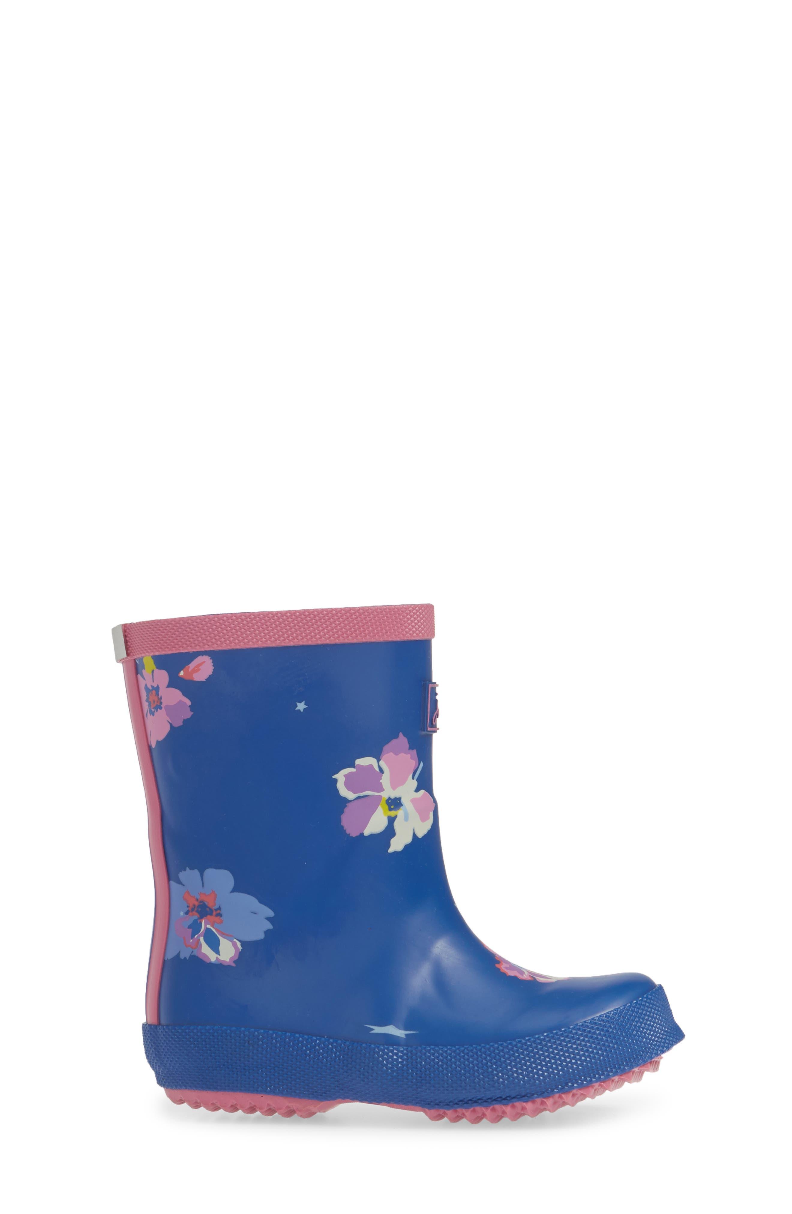 JOULES, Print Waterproof Rain Boot, Alternate thumbnail 3, color, BLUE CONFETTI FLORAL