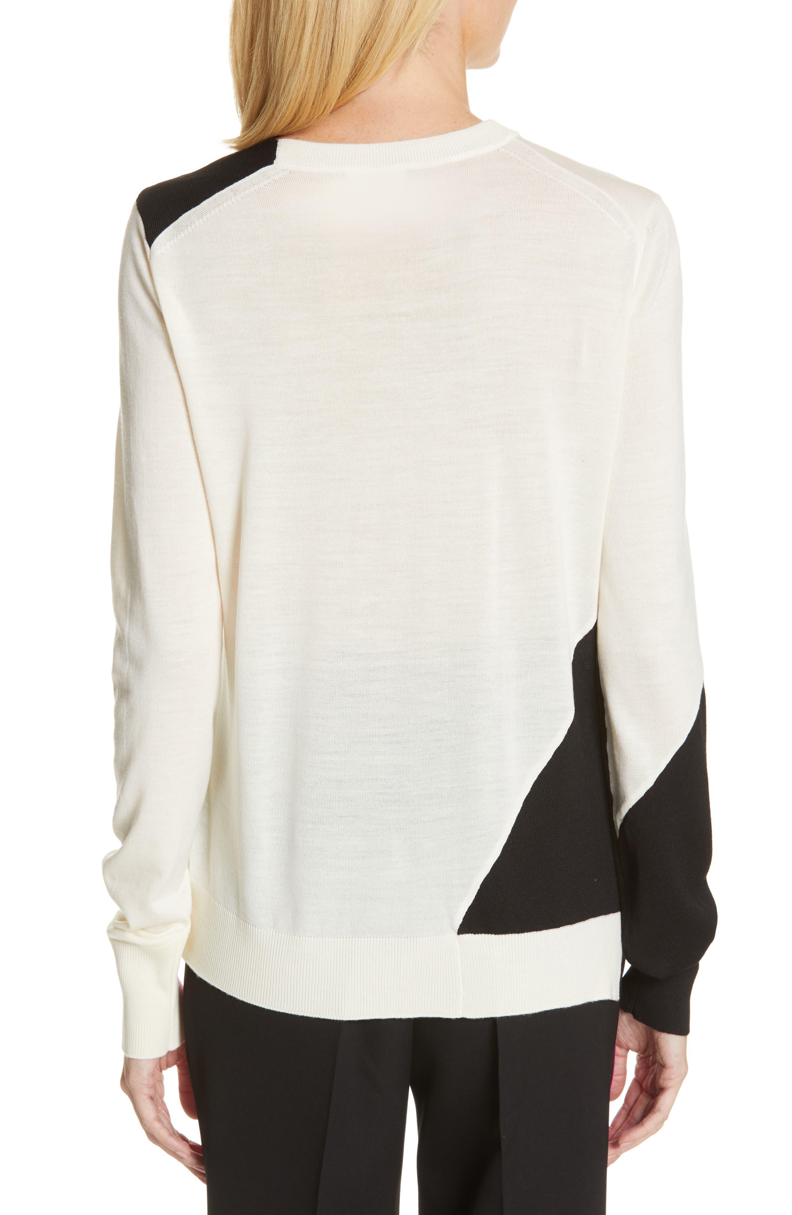 CALVIN KLEIN 205W39NYC, Contrast Stripe Wool Blend Sweater, Alternate thumbnail 2, color, WHITE BLACK TOURNESOL