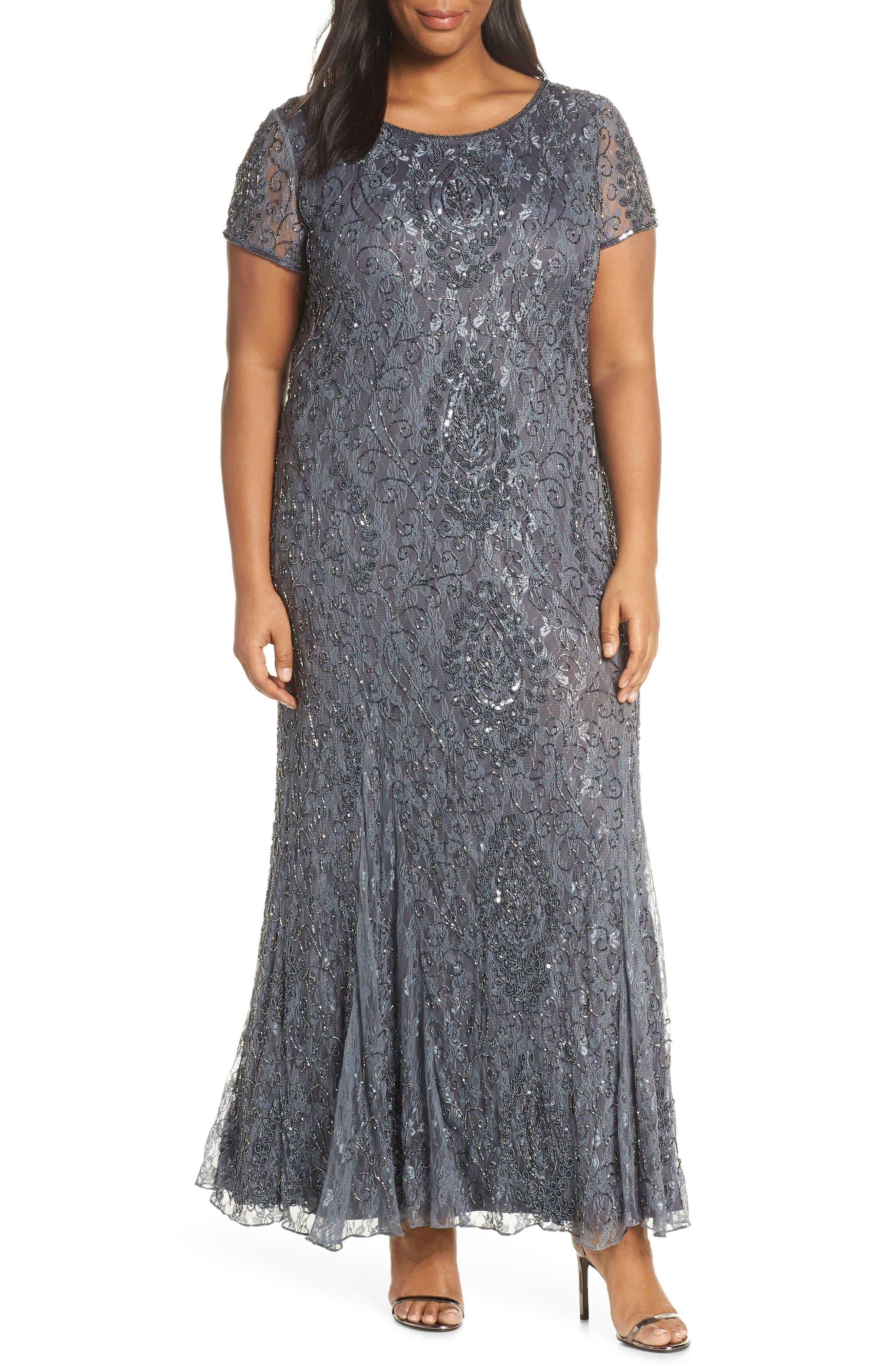 Plus Size Pisarro Nights Cap Sleeve Beaded Lace Dress, Grey