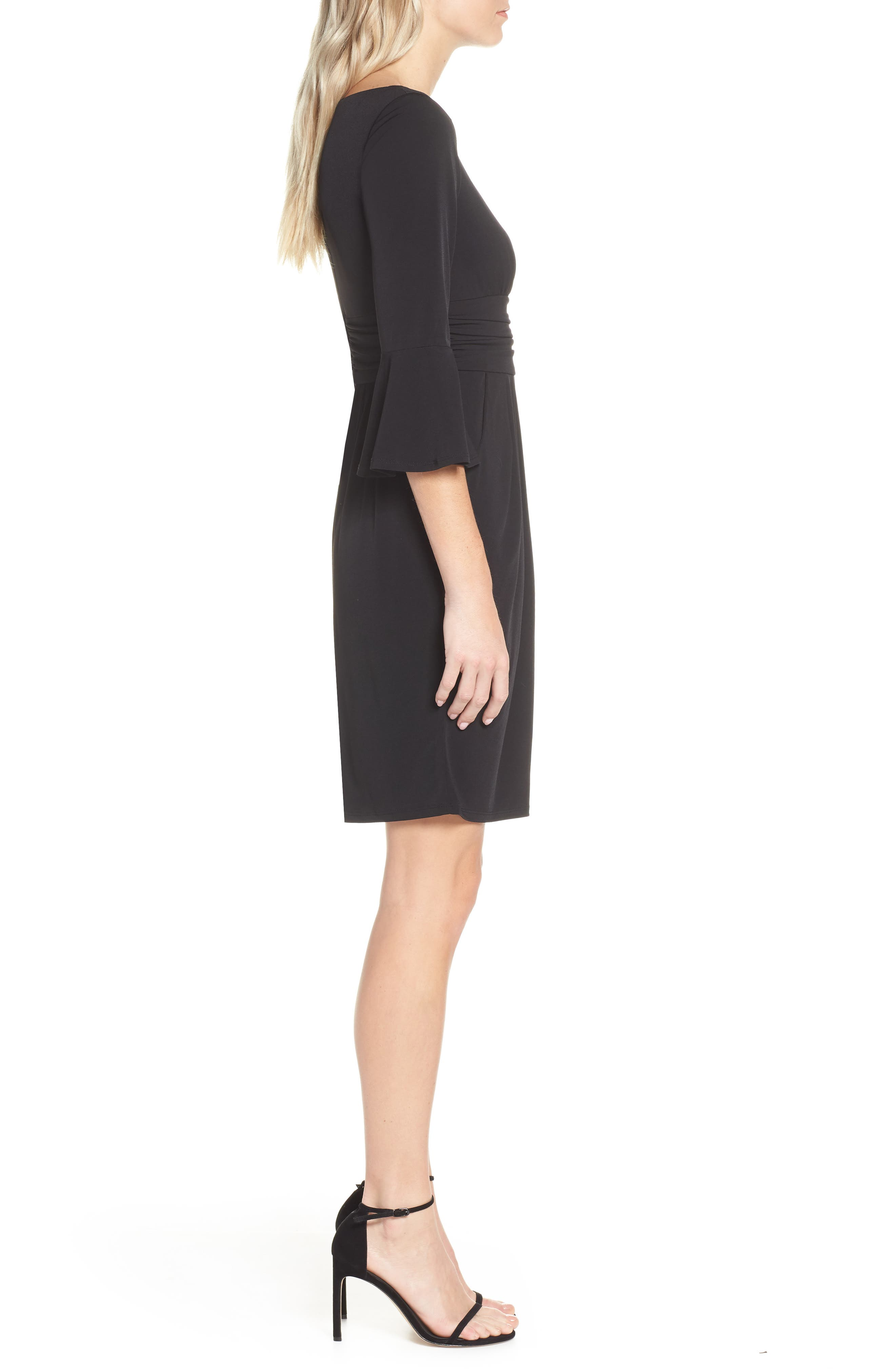 ELIZA J, Bell Sleeve Knit Sheath Dress, Alternate thumbnail 4, color, BLACK