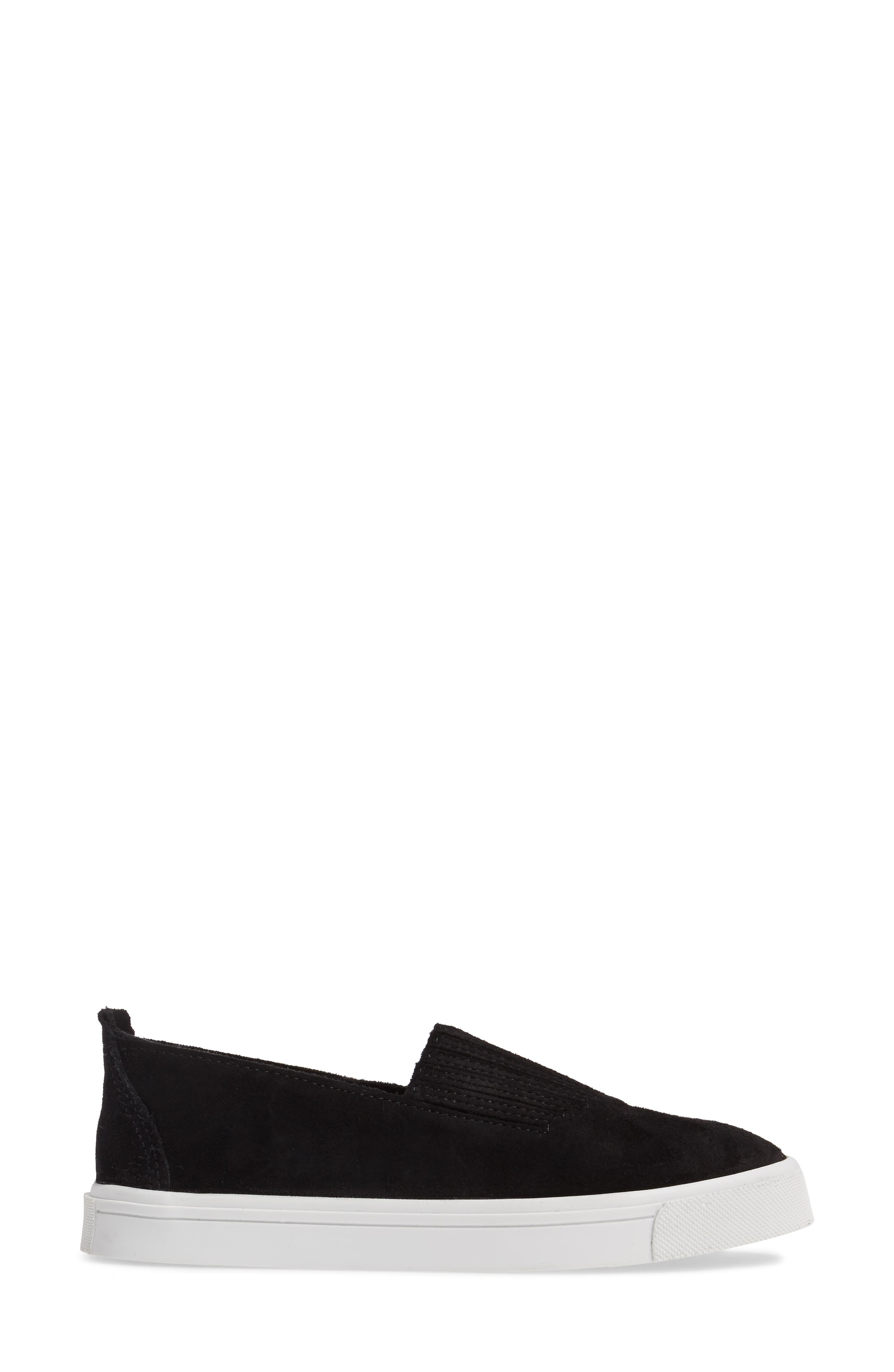 MINNETONKA, Gabi Slip-On Sneaker, Alternate thumbnail 3, color, BLACK