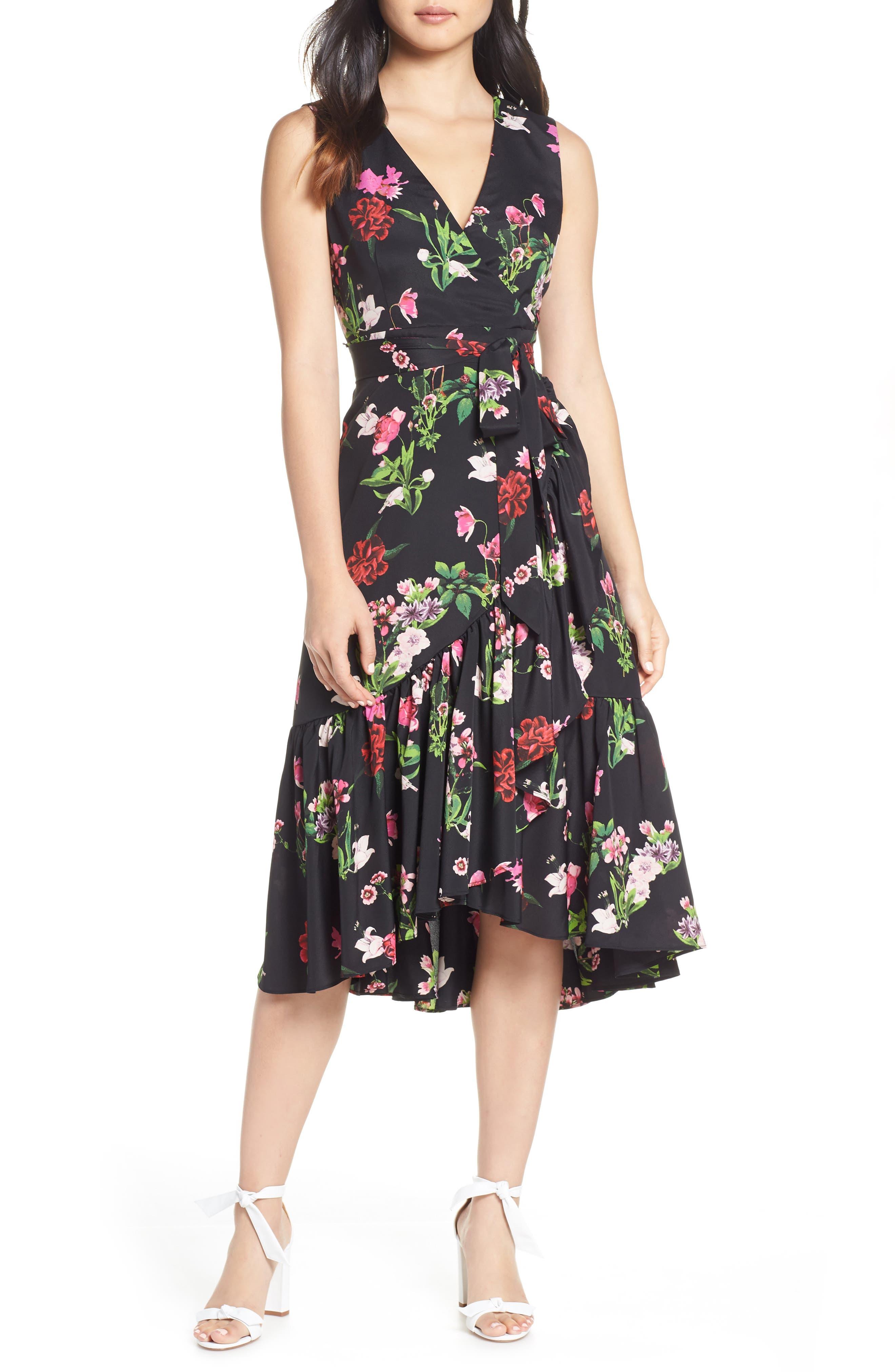 ELIZA J, Ruffle Hem Faux Wrap Dress, Main thumbnail 1, color, BLACK