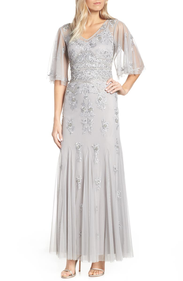 Adrianna Papell Beaded Amp Embroidered Chiffon Evening Dress
