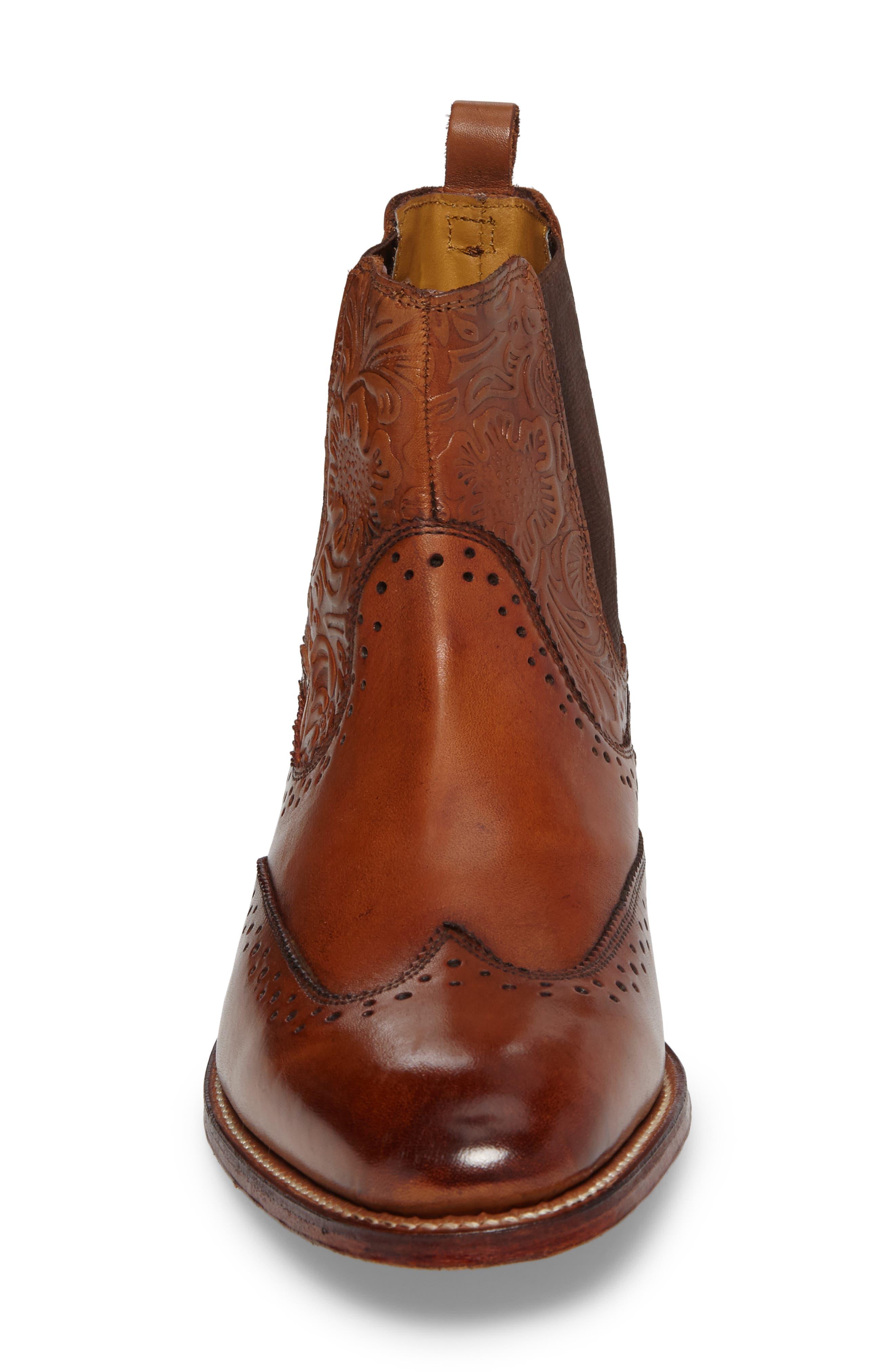 STACY ADAMS, Madison II Wingtip Chelsea Boot, Alternate thumbnail 4, color, COGNAC