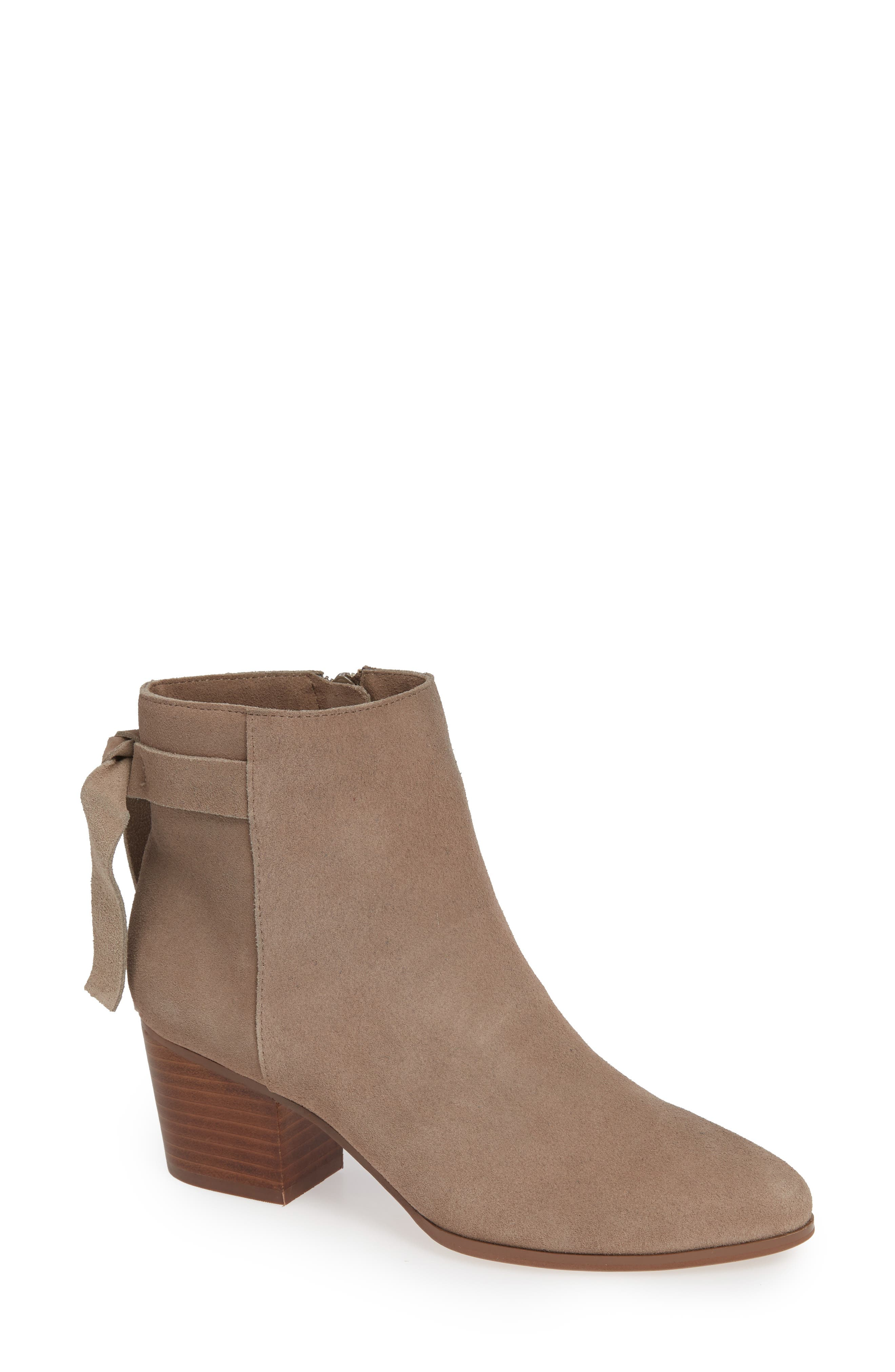 SOLE SOCIETY, Rhilynn Bootie, Main thumbnail 1, color, FALL TAUPE SUEDE