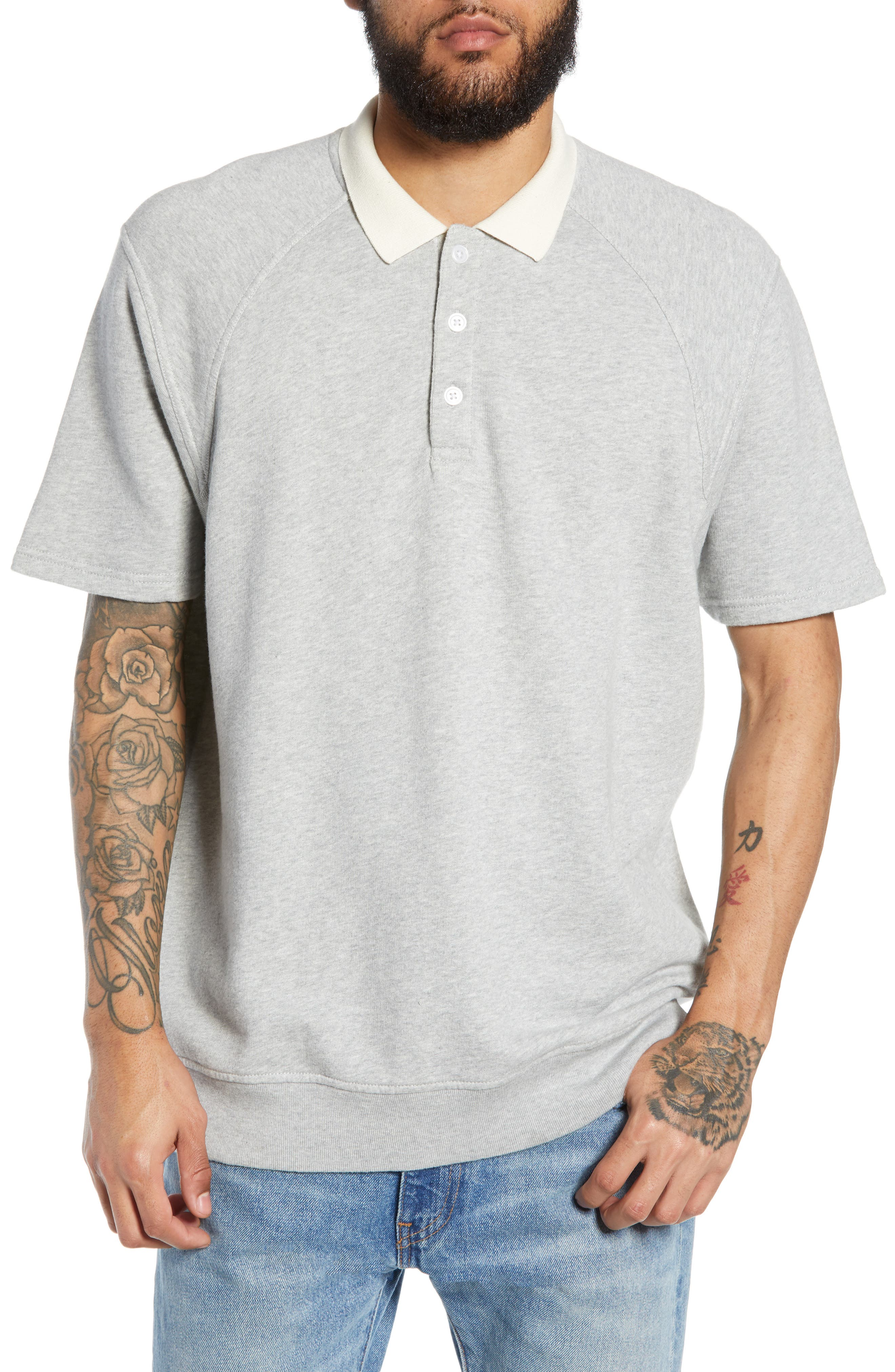 THE RAIL Short Sleeve Rugby Shirt, Main, color, GREY ASH HEATHER