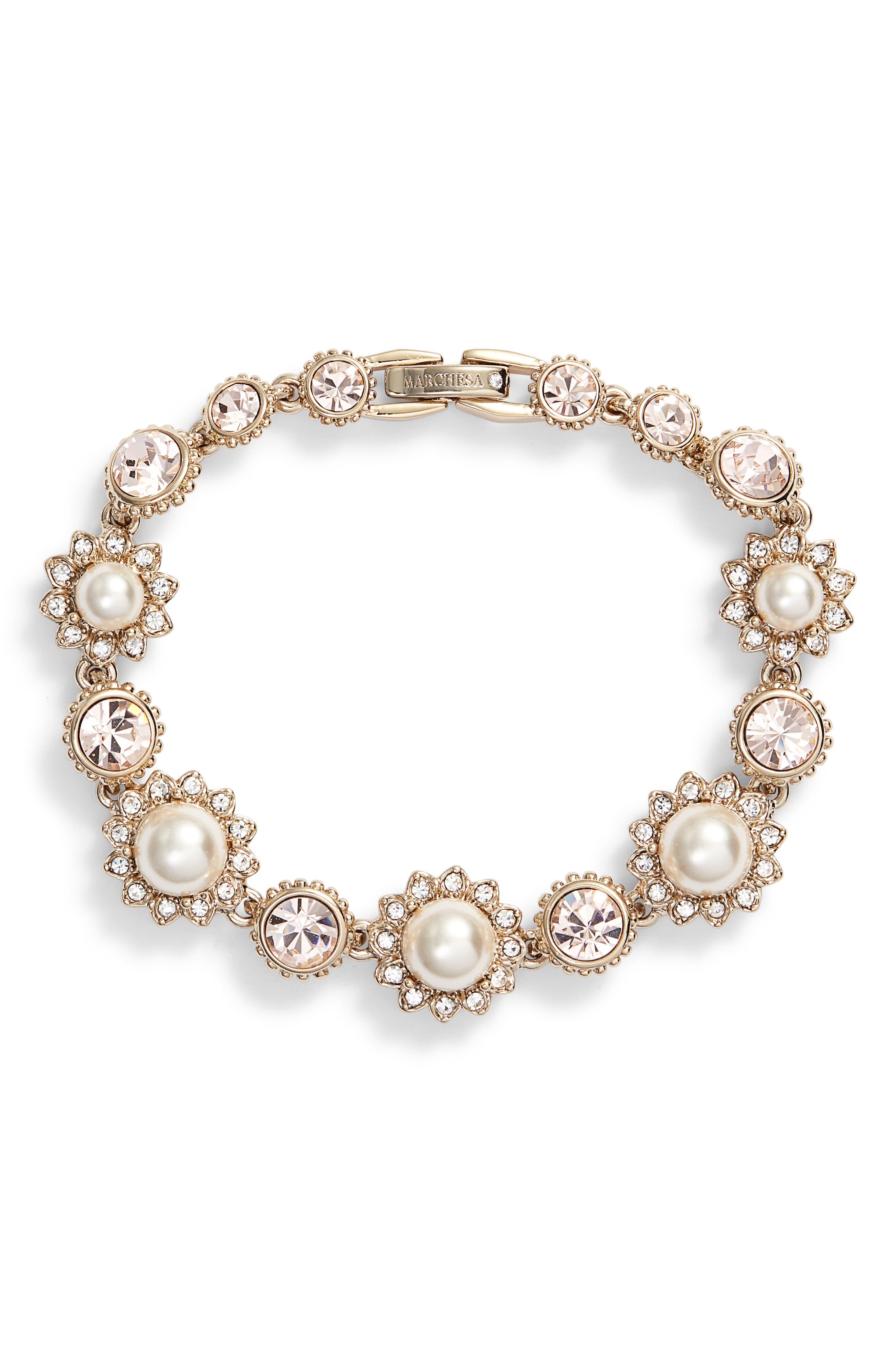 MARCHESA Imitation Pearl Line Bracelet, Main, color, CREAM/ SILK/ GOLD