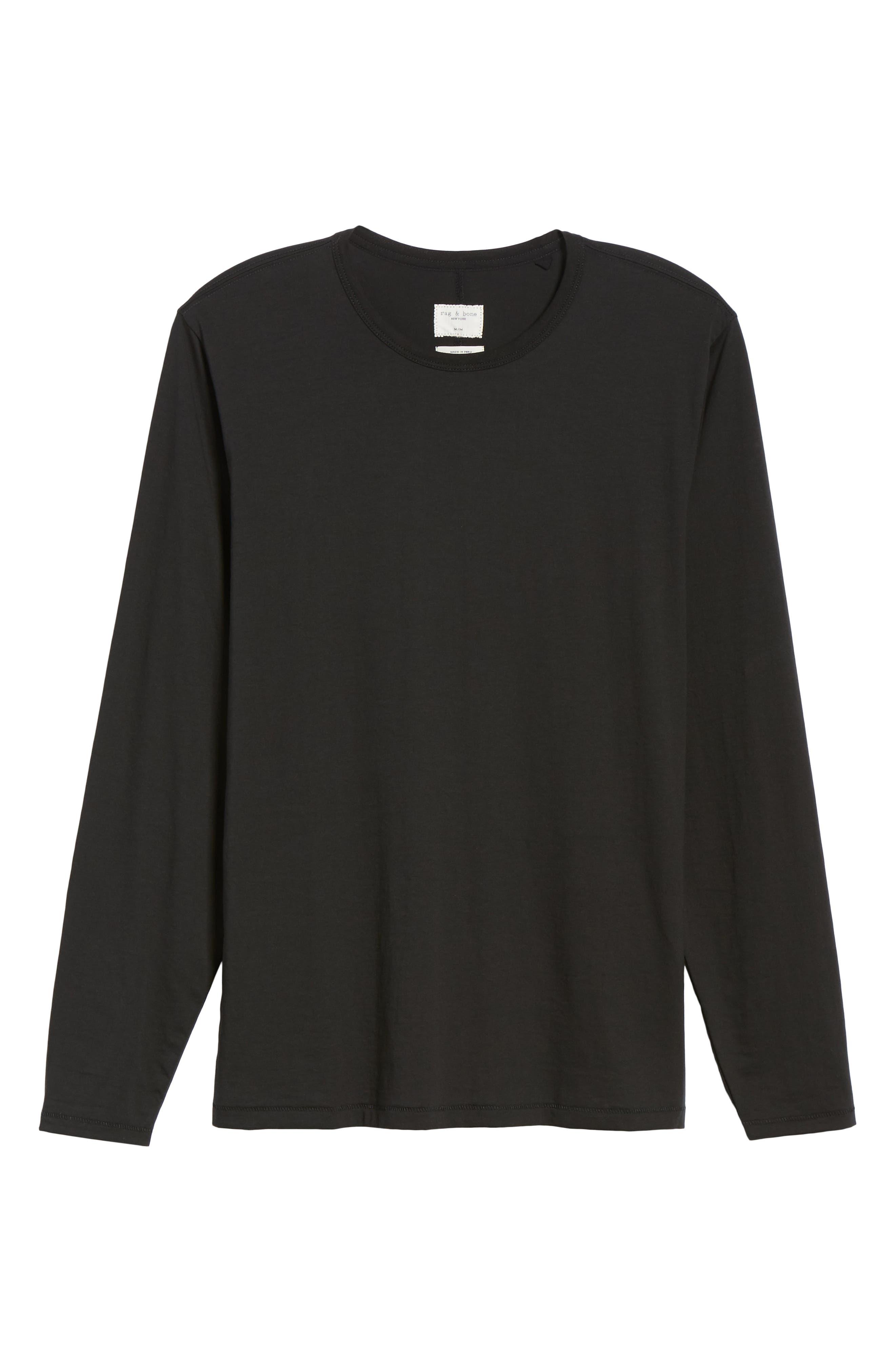 RAG & BONE, Classic Base T-Shirt, Alternate thumbnail 6, color, BLACK