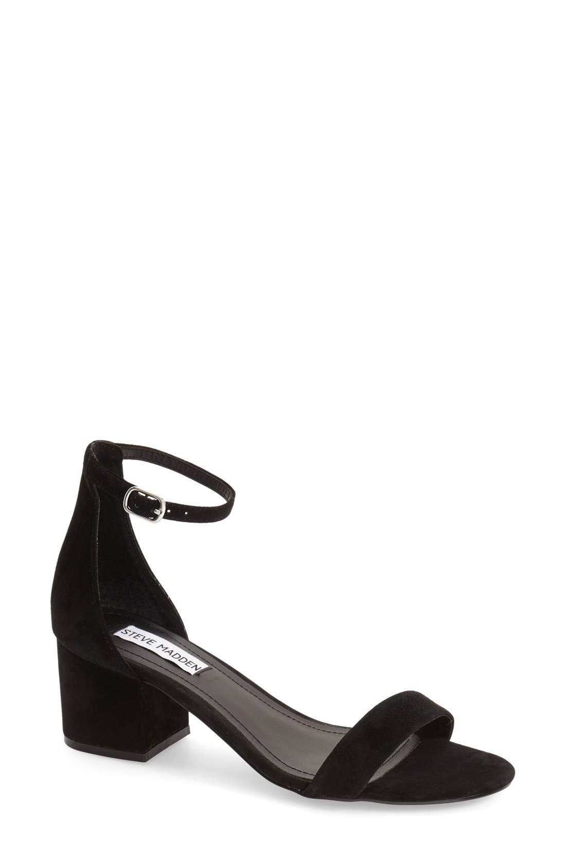 STEVE MADDEN, Irenee Ankle Strap Sandal, Main thumbnail 1, color, BLACK SUEDE