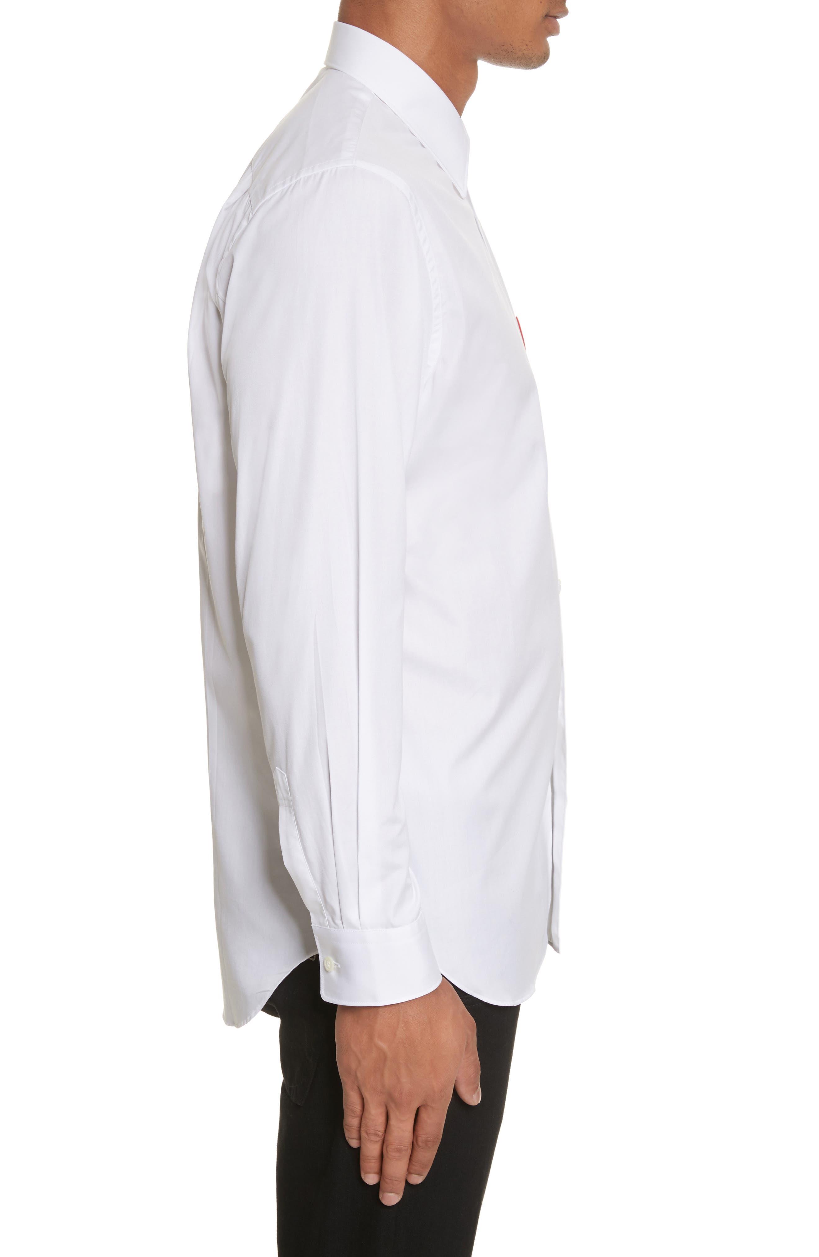 COMME DES GARÇONS PLAY, Woven Cotton Shirt, Alternate thumbnail 4, color, WHITE