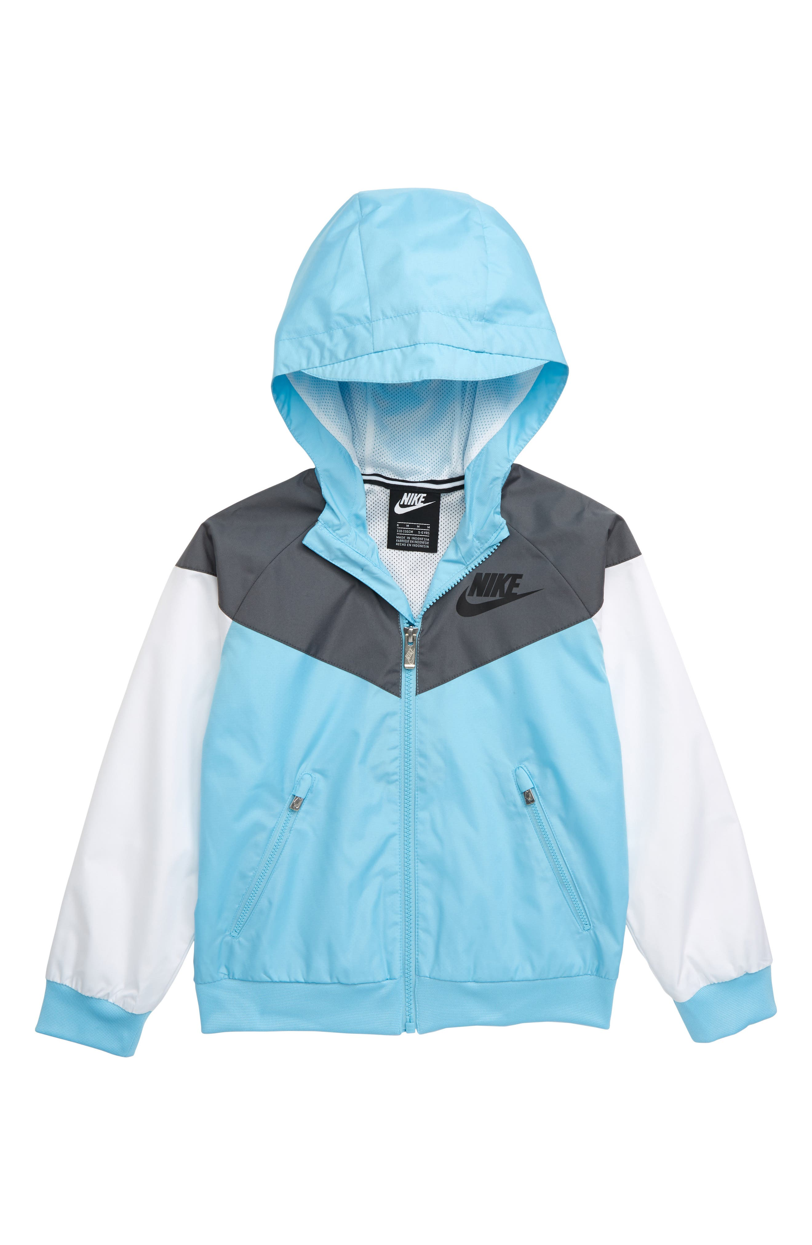 NIKE, Windrunner Water Resistant Hooded Jacket, Main thumbnail 1, color, BLUE GAZE