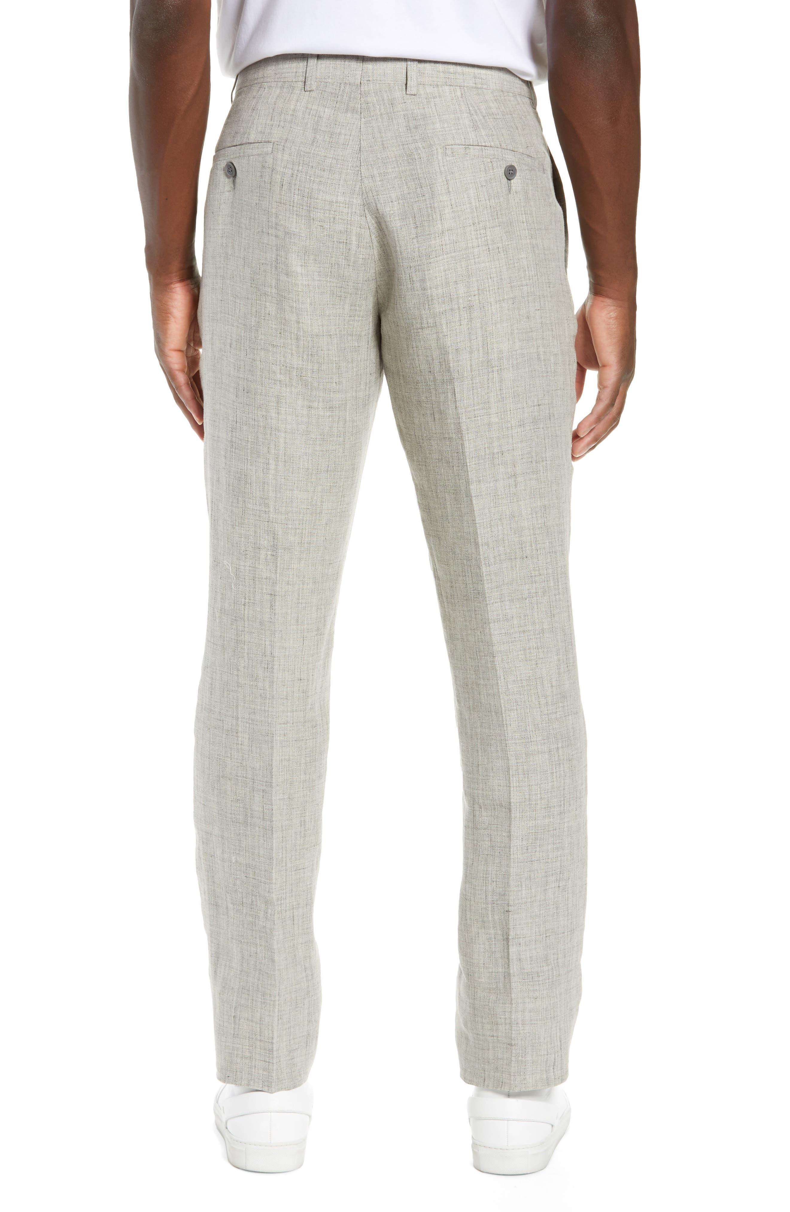 NORDSTROM MEN'S SHOP, Flat Front Mélange Linen Trousers, Alternate thumbnail 2, color, LIGHT GREY