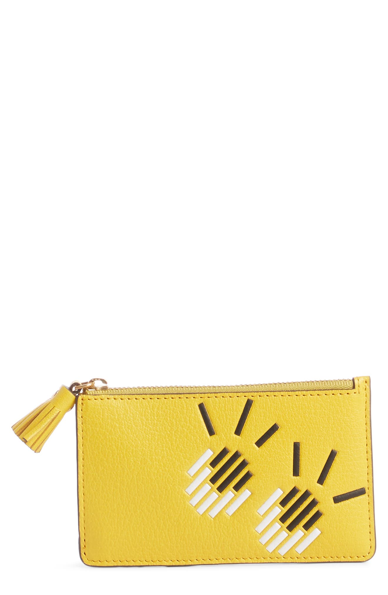 ANYA HINDMARCH, Eyes Leather Card Case, Main thumbnail 1, color, YELLOW