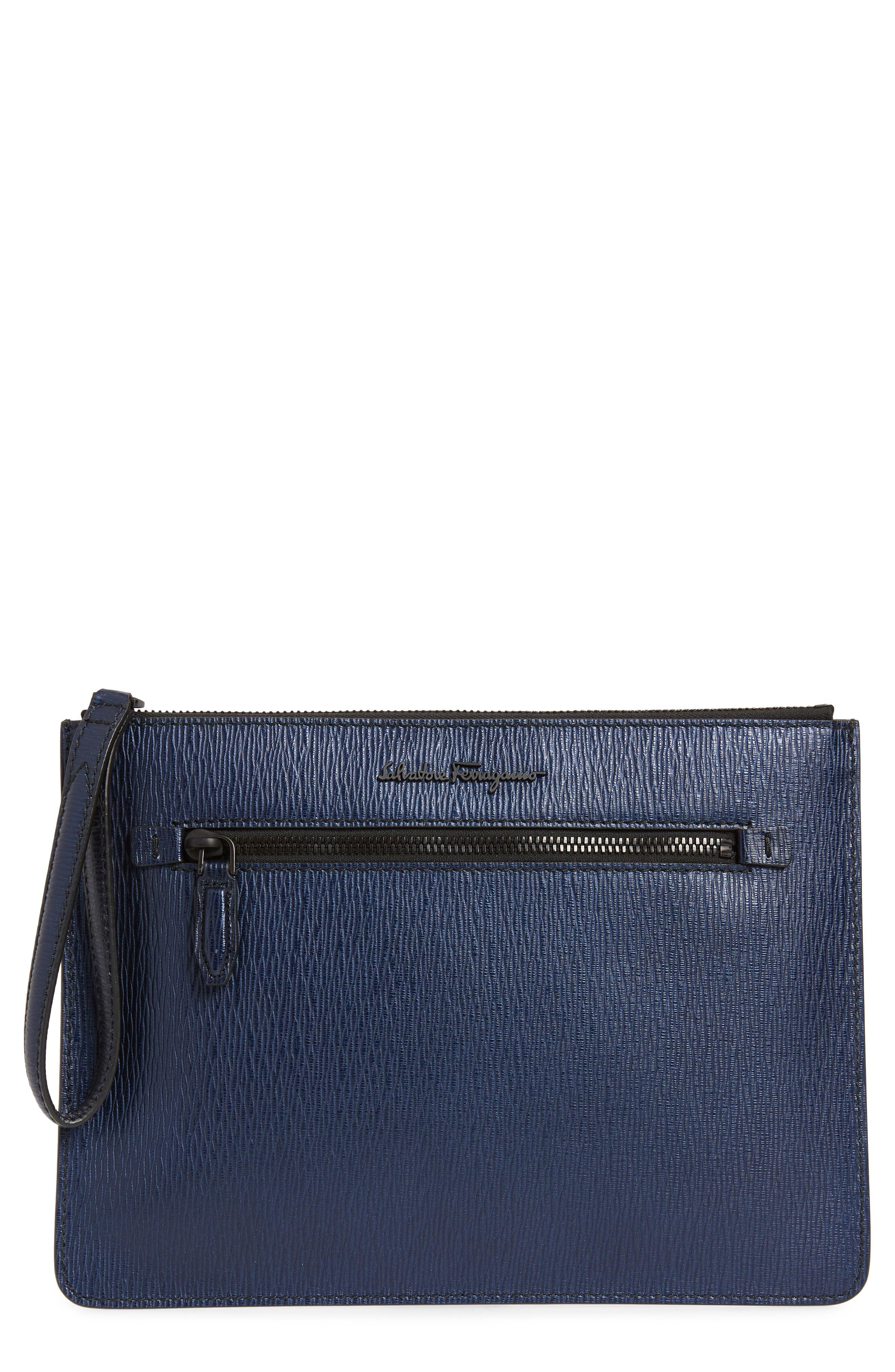 SALVATORE FERRAGAMO Textured Leather Zip Pouch, Main, color, NAVY