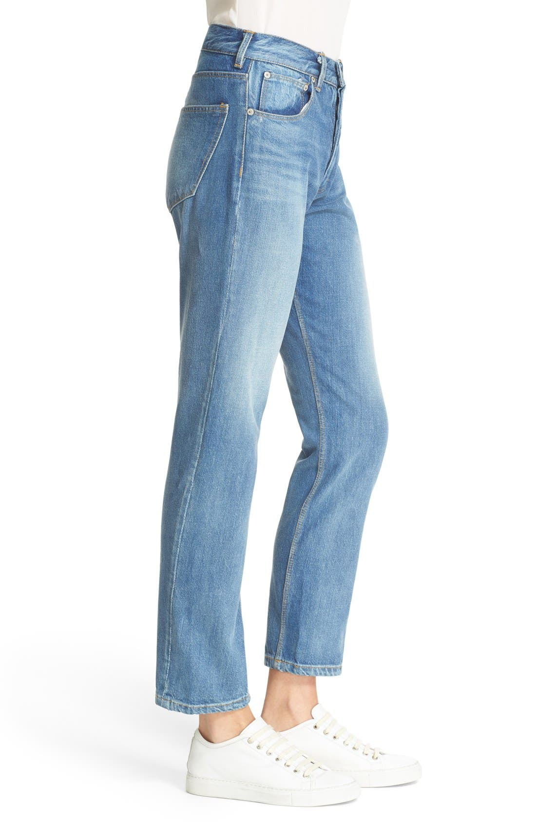 LA VIE REBECCA TAYLOR, Beatrice High Waist Crop Straight Leg Jeans, Alternate thumbnail 3, color, 424
