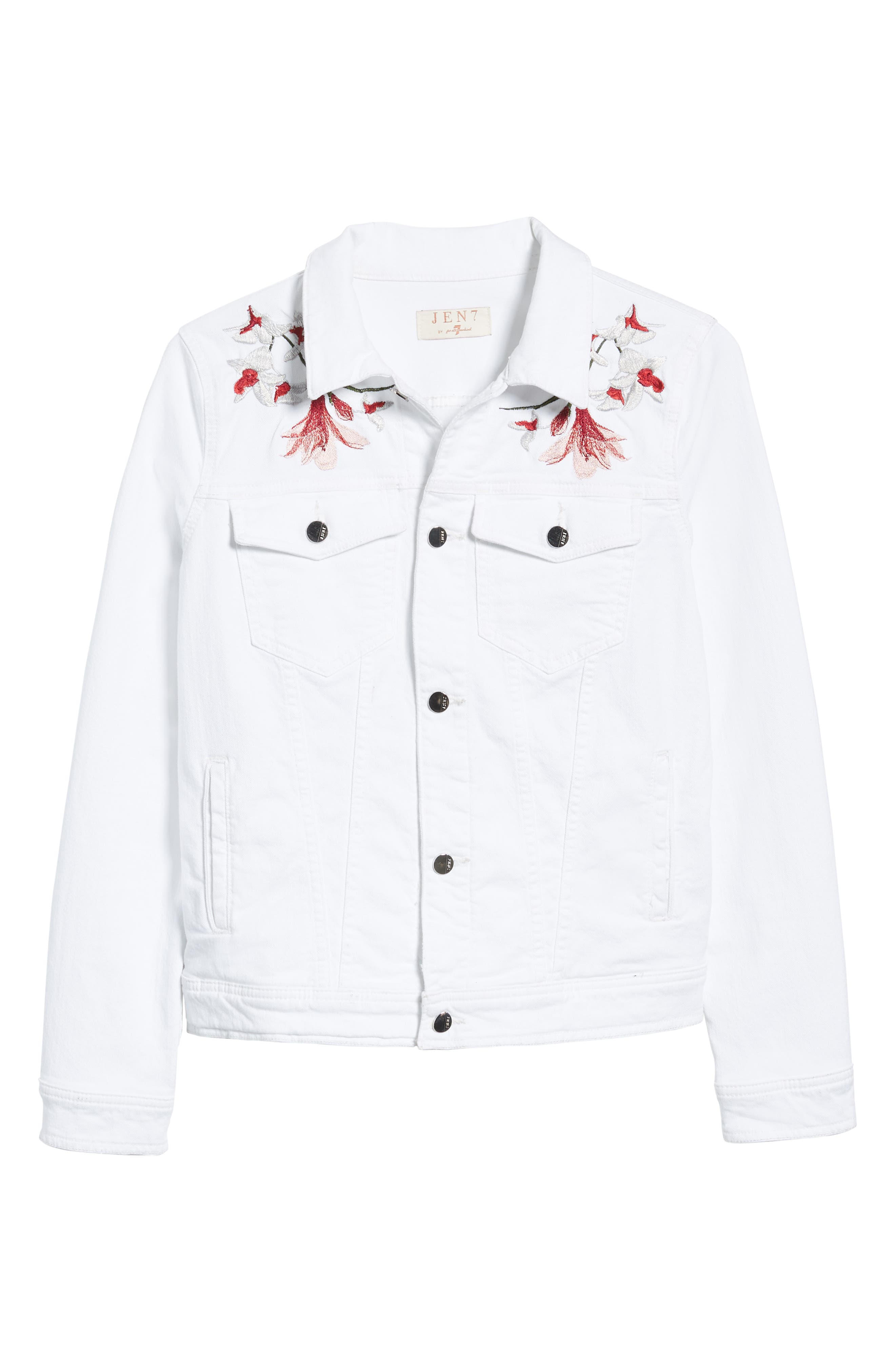 JEN7 BY 7 FOR ALL MANKIND, Embroidered Denim Jacket, Alternate thumbnail 6, color, 102