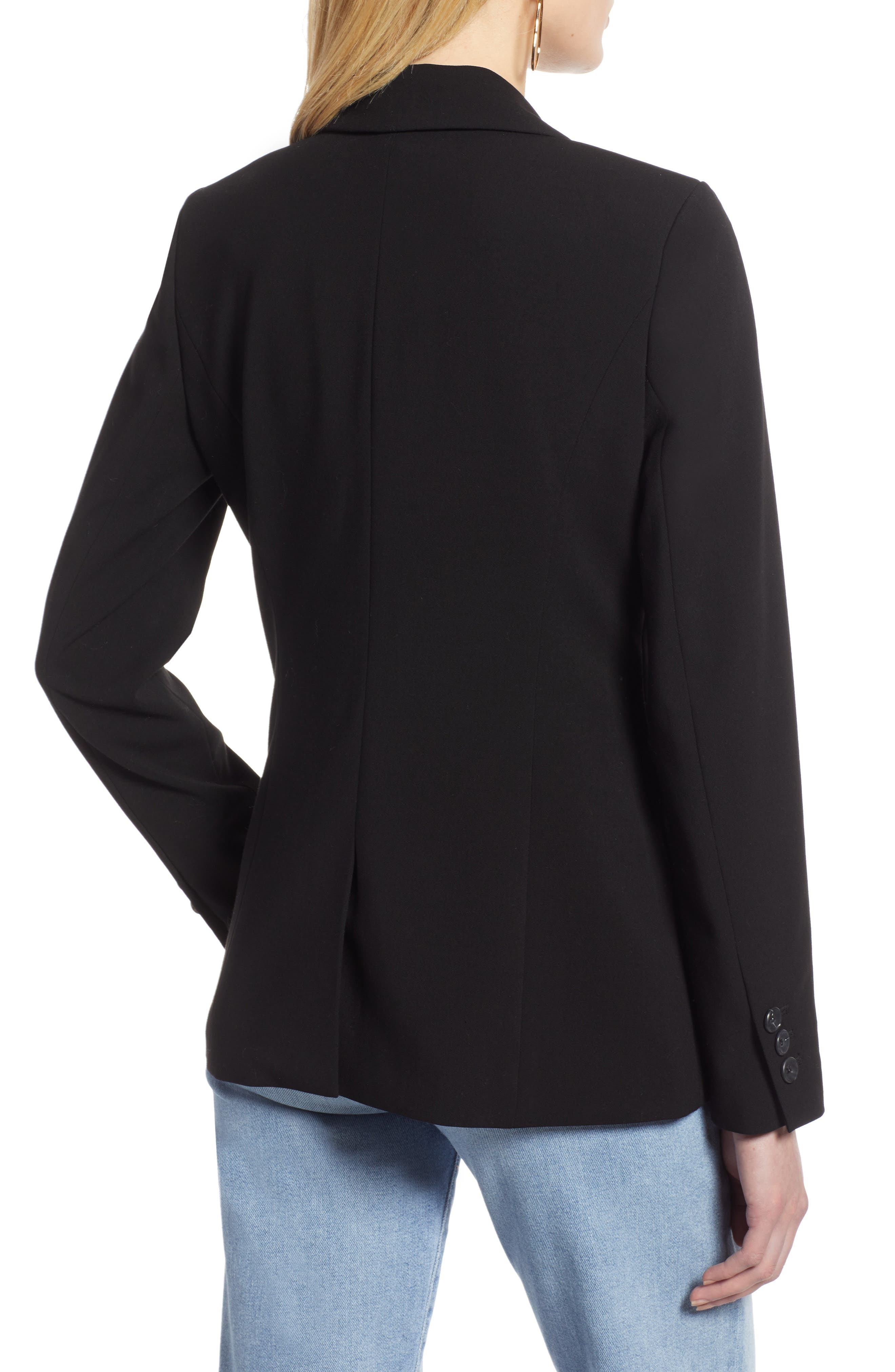HALOGEN<SUP>®</SUP>, Double Breasted Blazer, Alternate thumbnail 2, color, BLACK