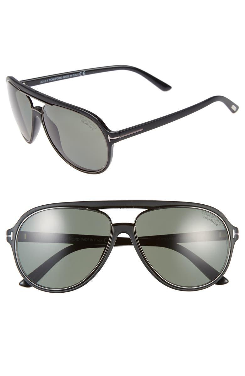 bb5c69e77 TOM FORD 'Sergio' 60mm Polarized Aviator Sunglasses, Main, color, ...