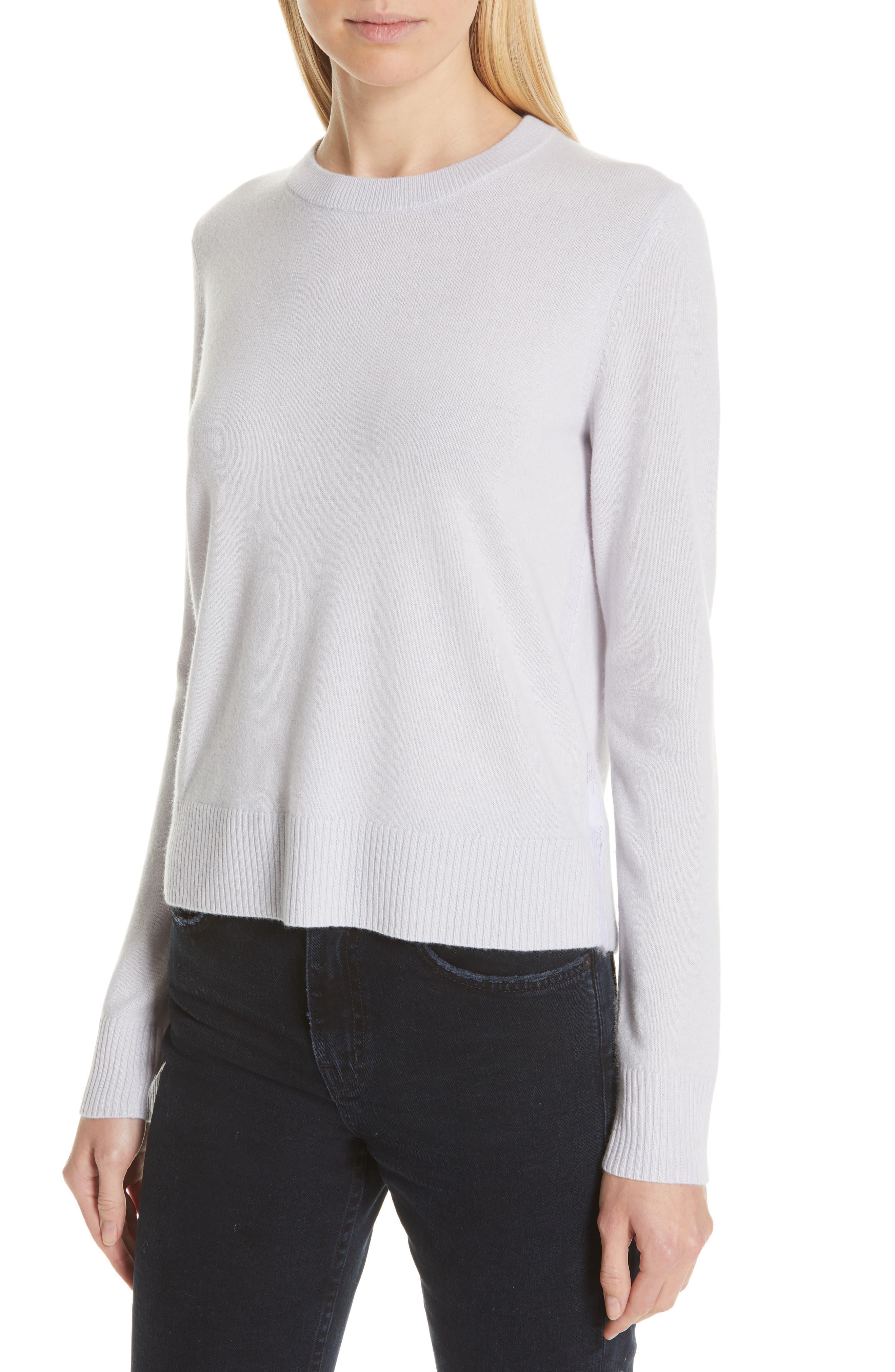 PROENZA SCHOULER, Cashmere Sweater, Alternate thumbnail 4, color, BLUE GREY