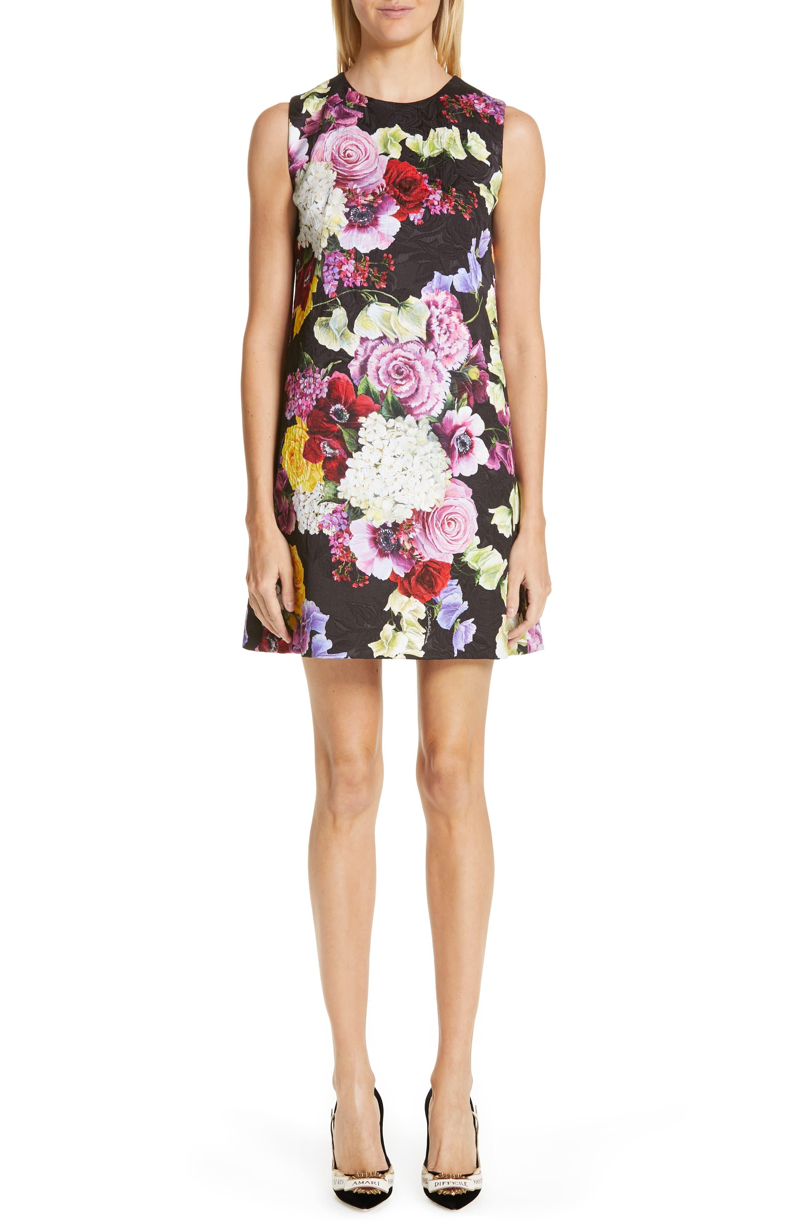 Dolce & gabbana Floral Print Shift Dress, US / 42 IT - Black