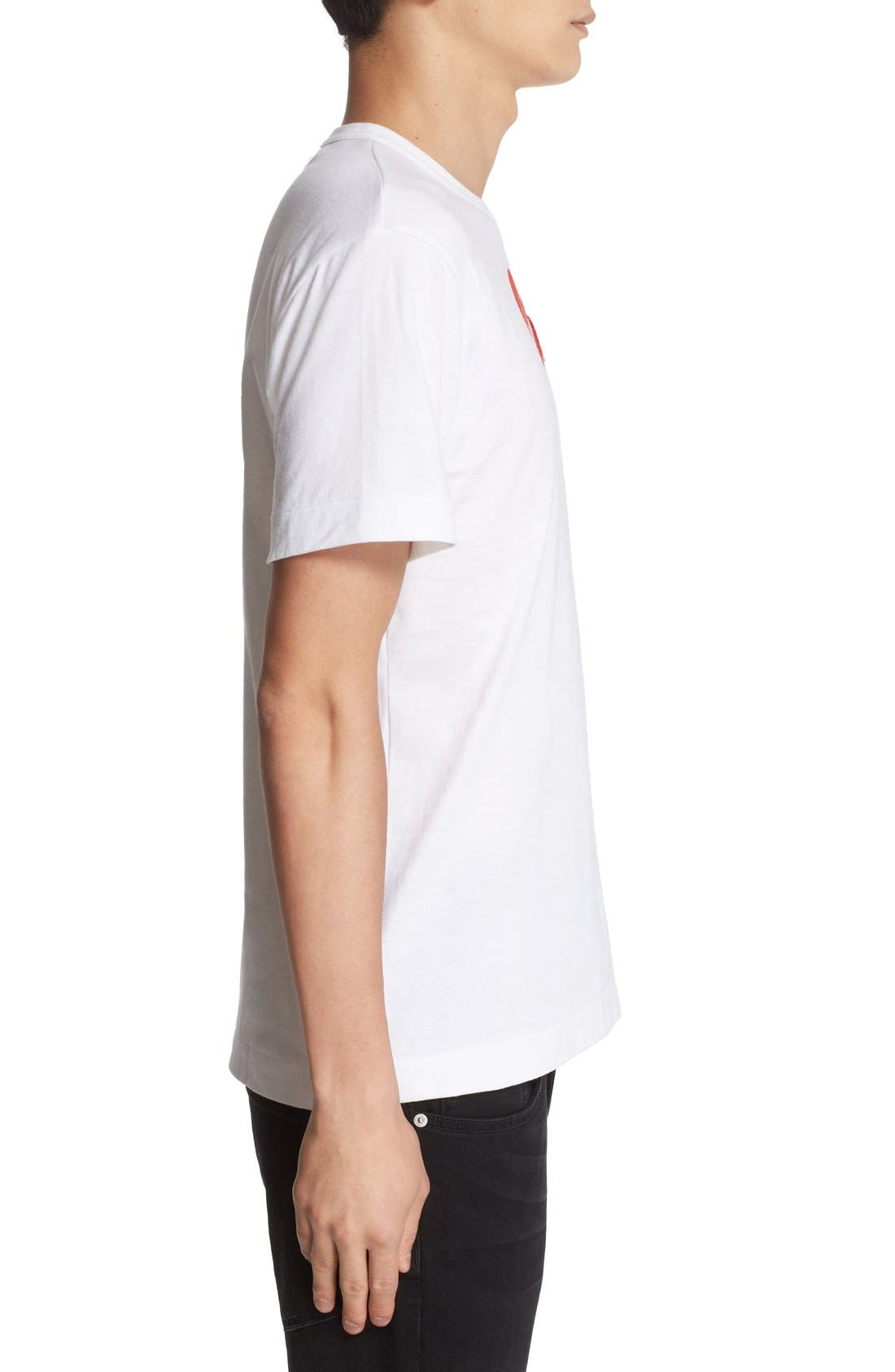 COMME DES GARÇONS PLAY, Heart Face Graphic T-Shirt, Alternate thumbnail 4, color, WHITE