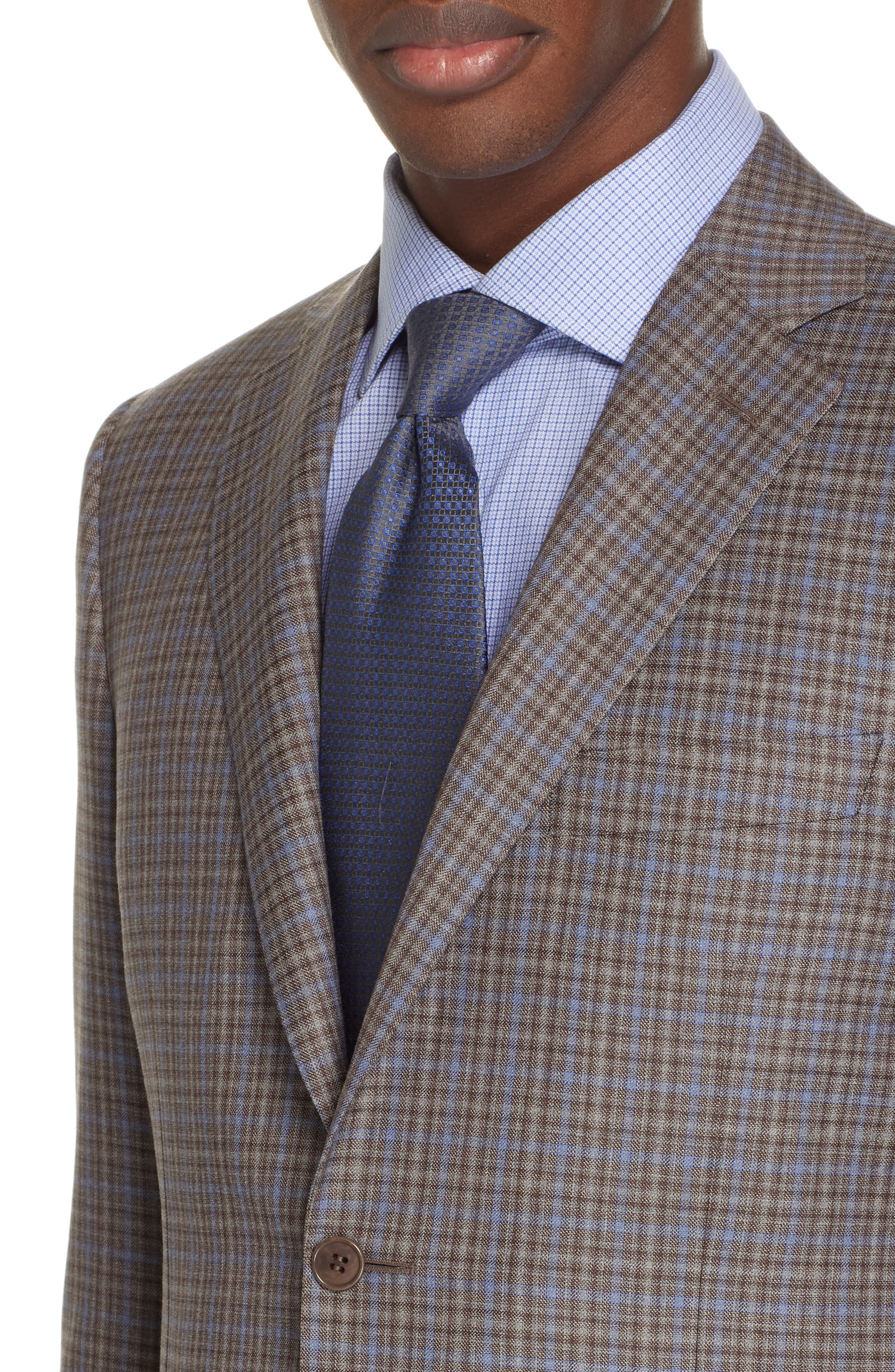 CANALI, Sienna Classic Fit Plaid Wool Sport Coat, Alternate thumbnail 4, color, BROWN