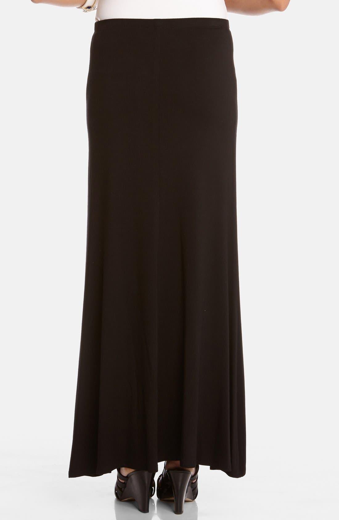 KAREN KANE, Flared Maxi Skirt, Alternate thumbnail 2, color, BLACK