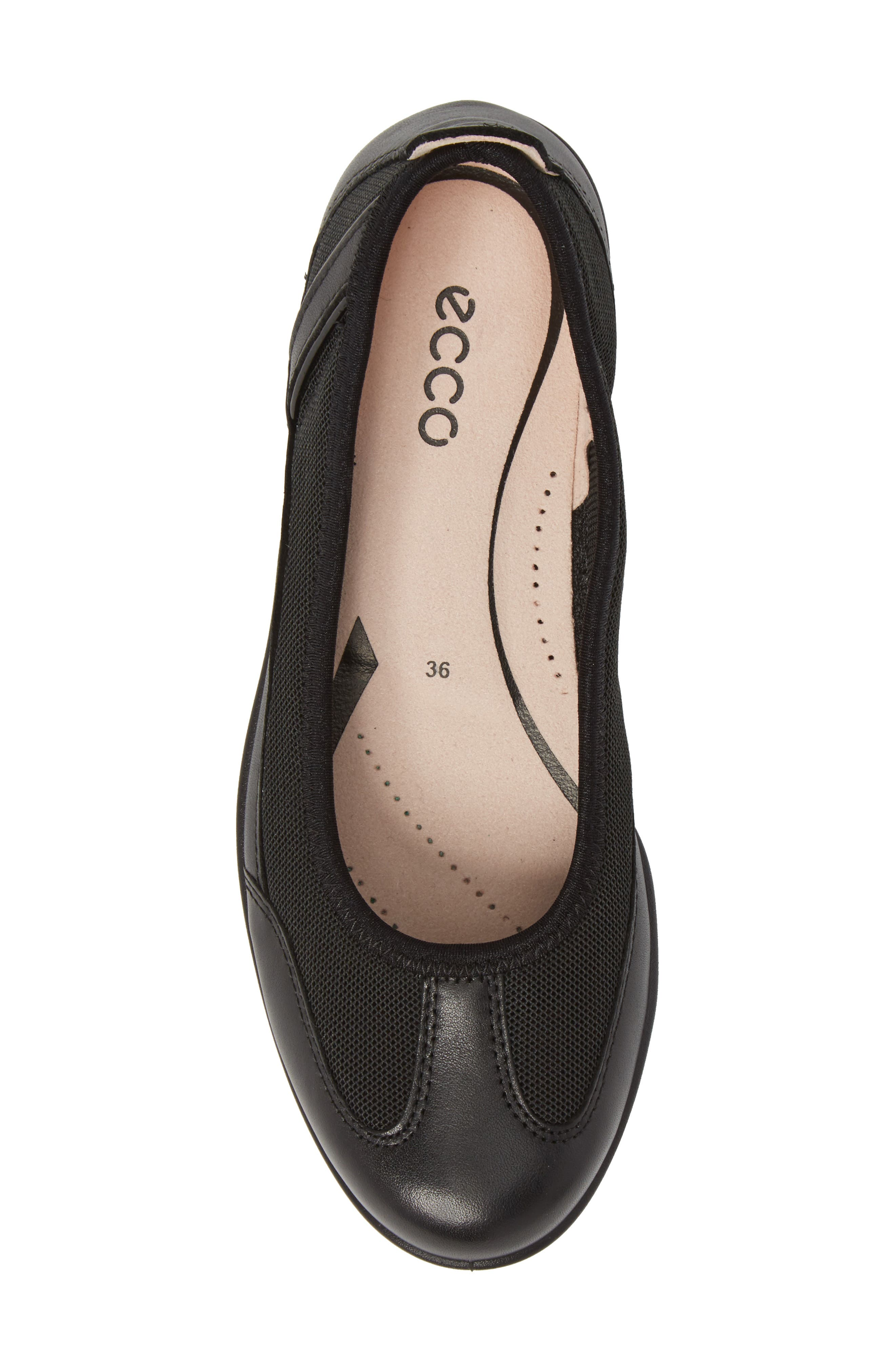 ECCO, 'Bluma' Ballet Sneaker, Alternate thumbnail 5, color, BLACK LEATHER