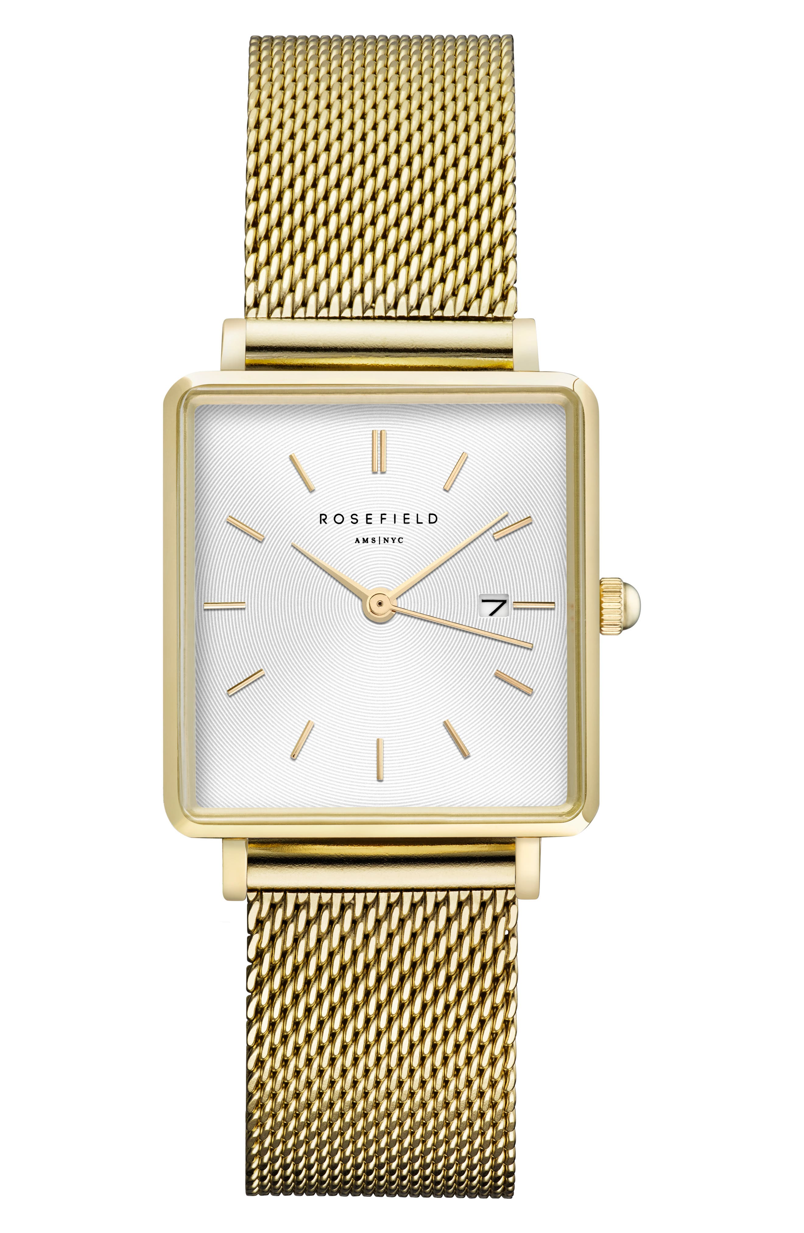 ROSEFIELD The Boxy Mesh Strap Watch, 26mm x 28mm, Main, color, GOLD/ WHITE SUNRAY/ GOLD