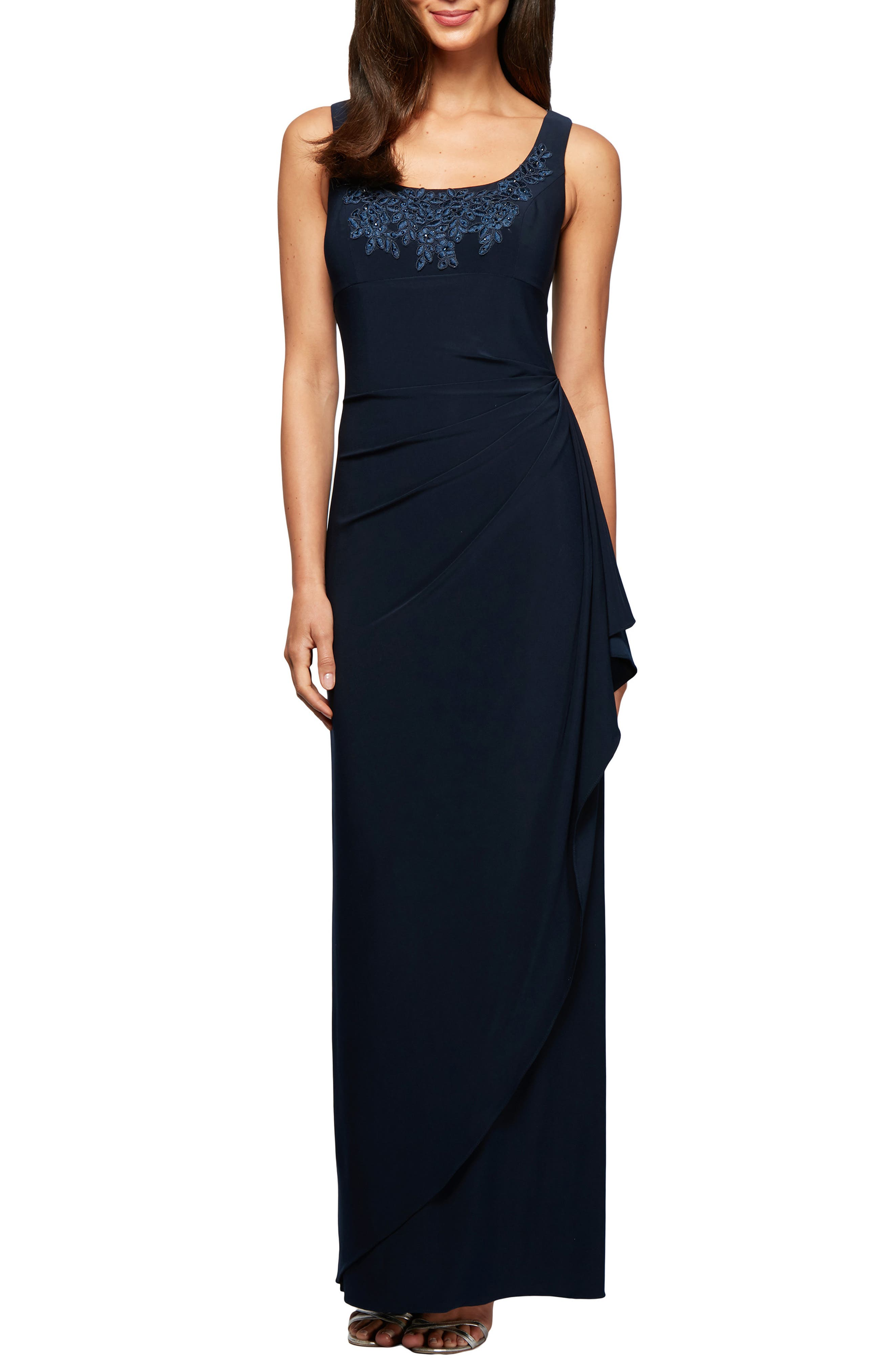 ALEX EVENINGS, Side Ruched Evening Dress with Bolero, Alternate thumbnail 3, color, 410