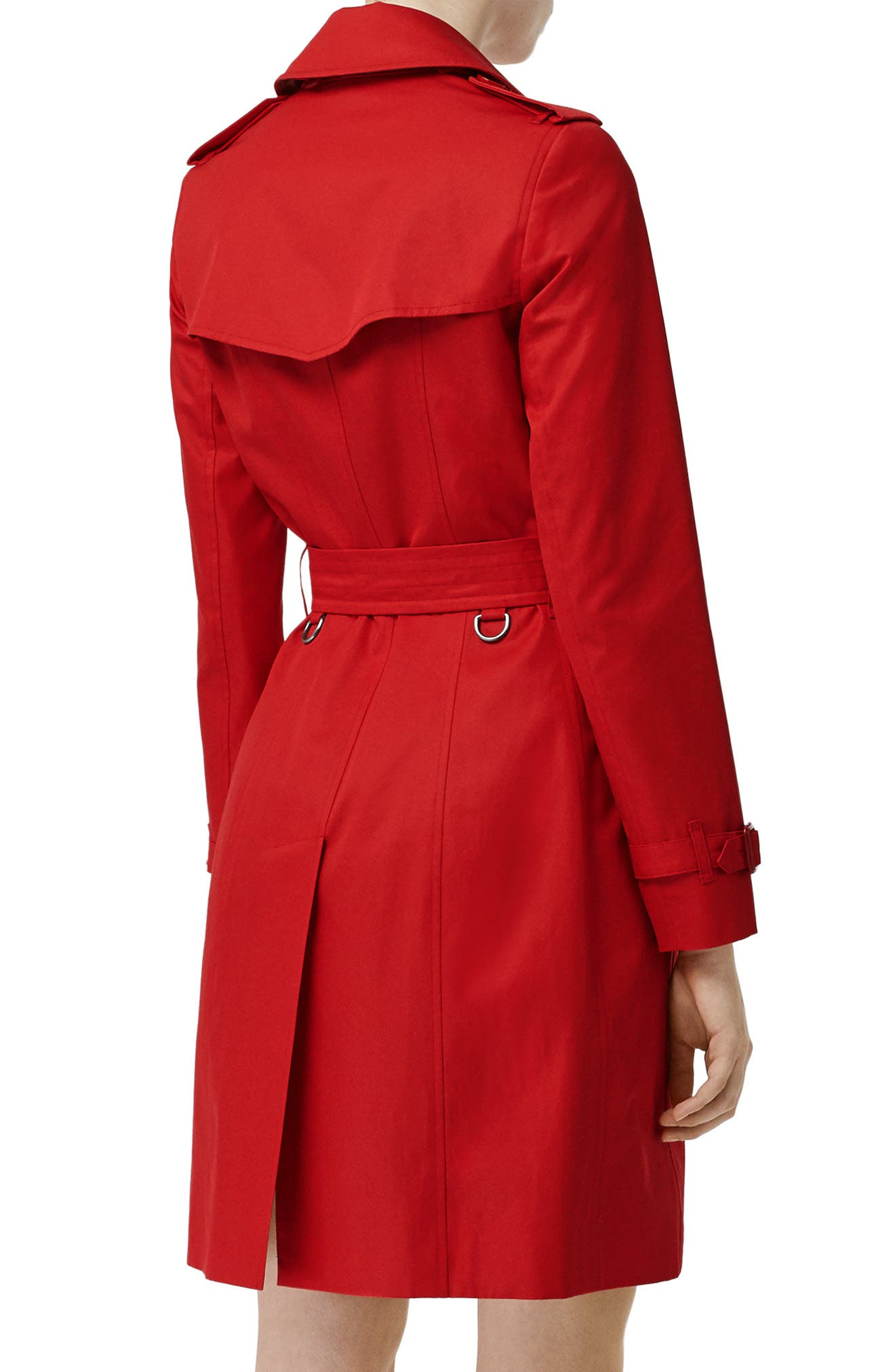 BURBERRY, The Chelsea Cotton Gabardine Trench Coat, Alternate thumbnail 2, color, BRIGHT RED
