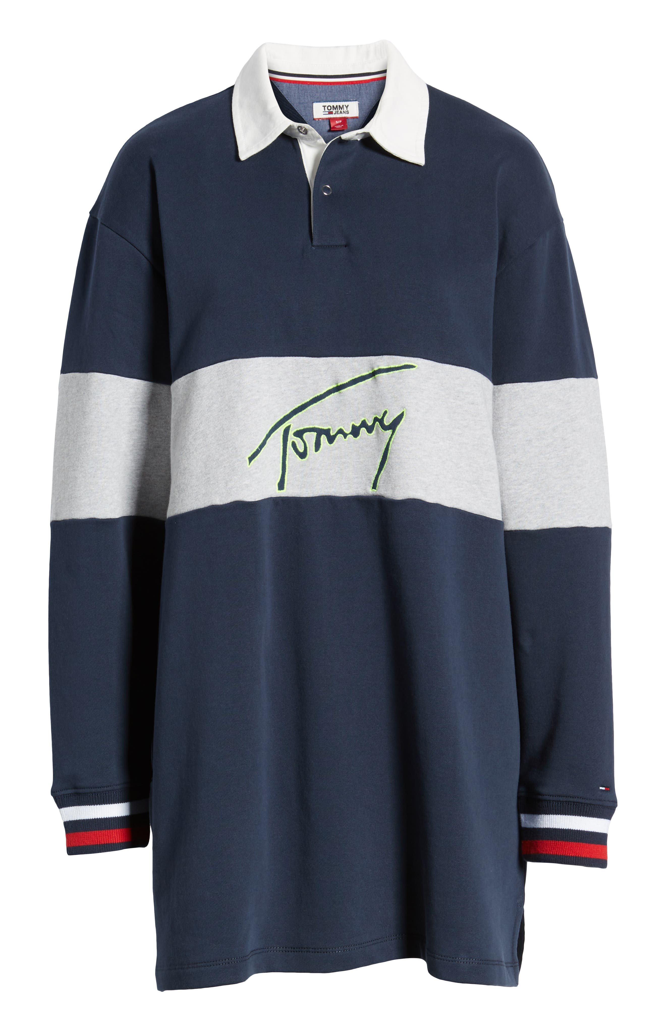 TOMMY JEANS, Logo Rugby Dress, Alternate thumbnail 7, color, 400
