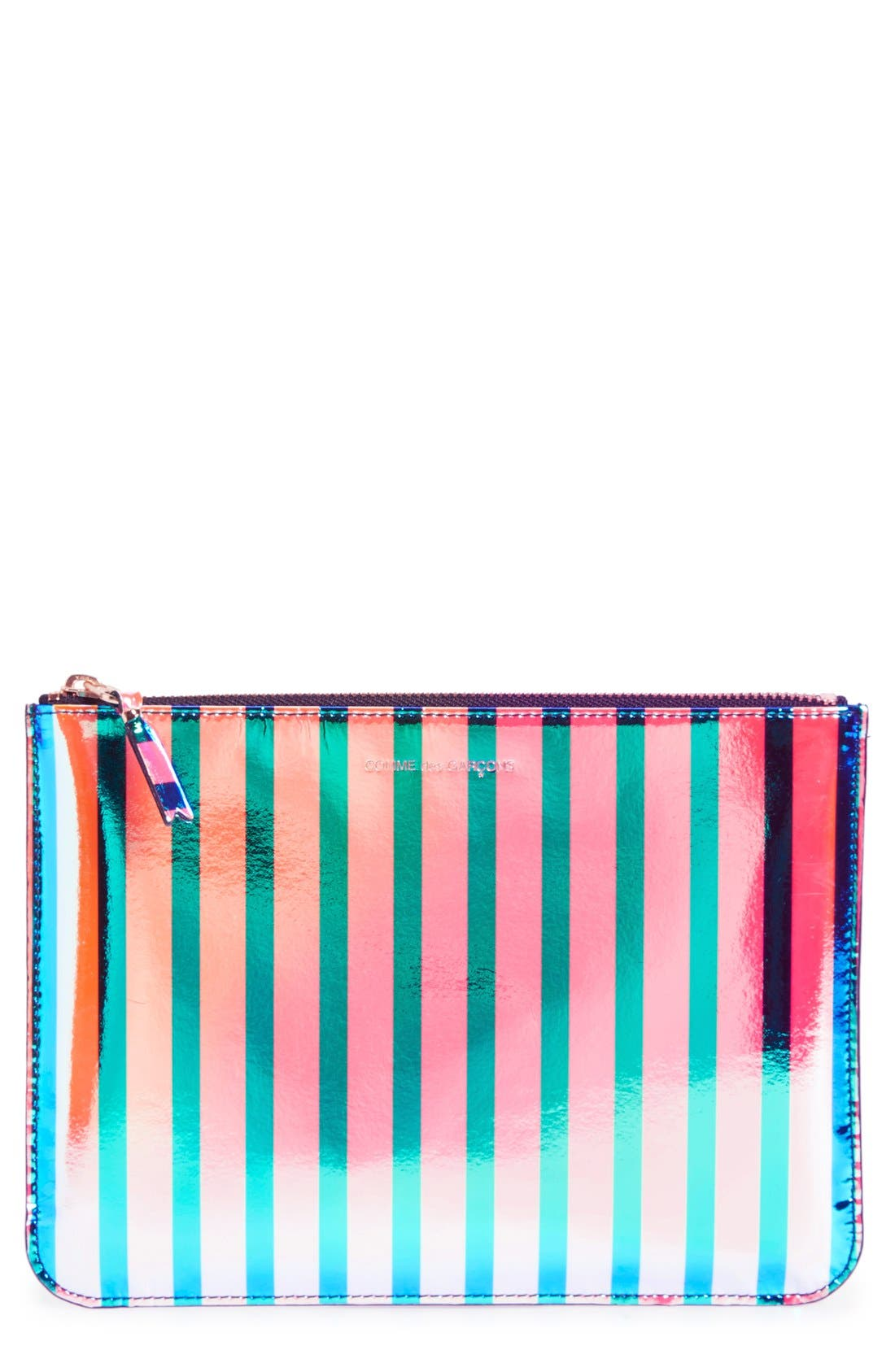 COMME DES GARÇONS, 'Crazy Stripes' Leather Pouch, Main thumbnail 1, color, 650