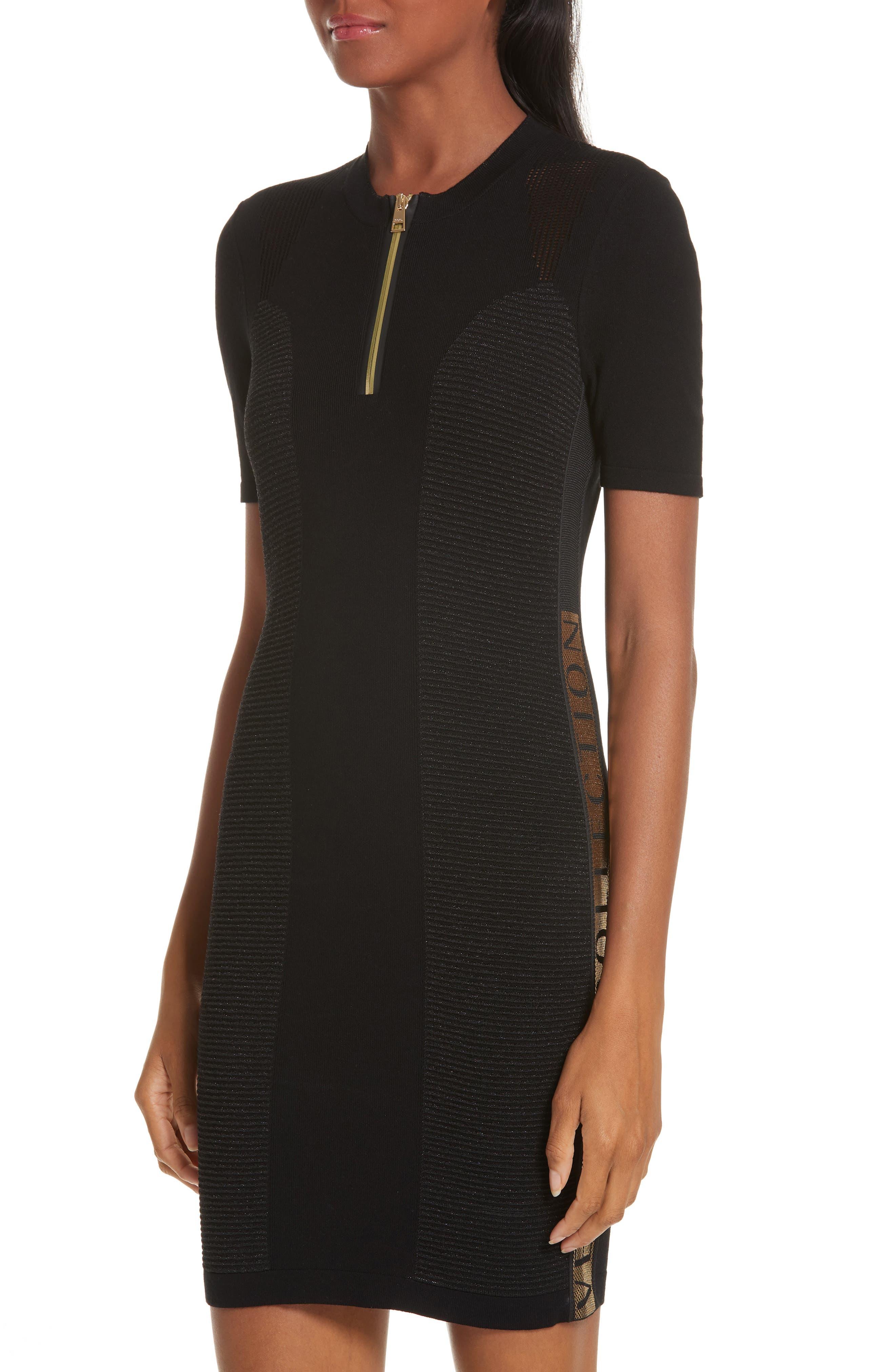 VERSACE COLLECTION, Logo Trim Body-Con Dress, Alternate thumbnail 5, color, BLACK