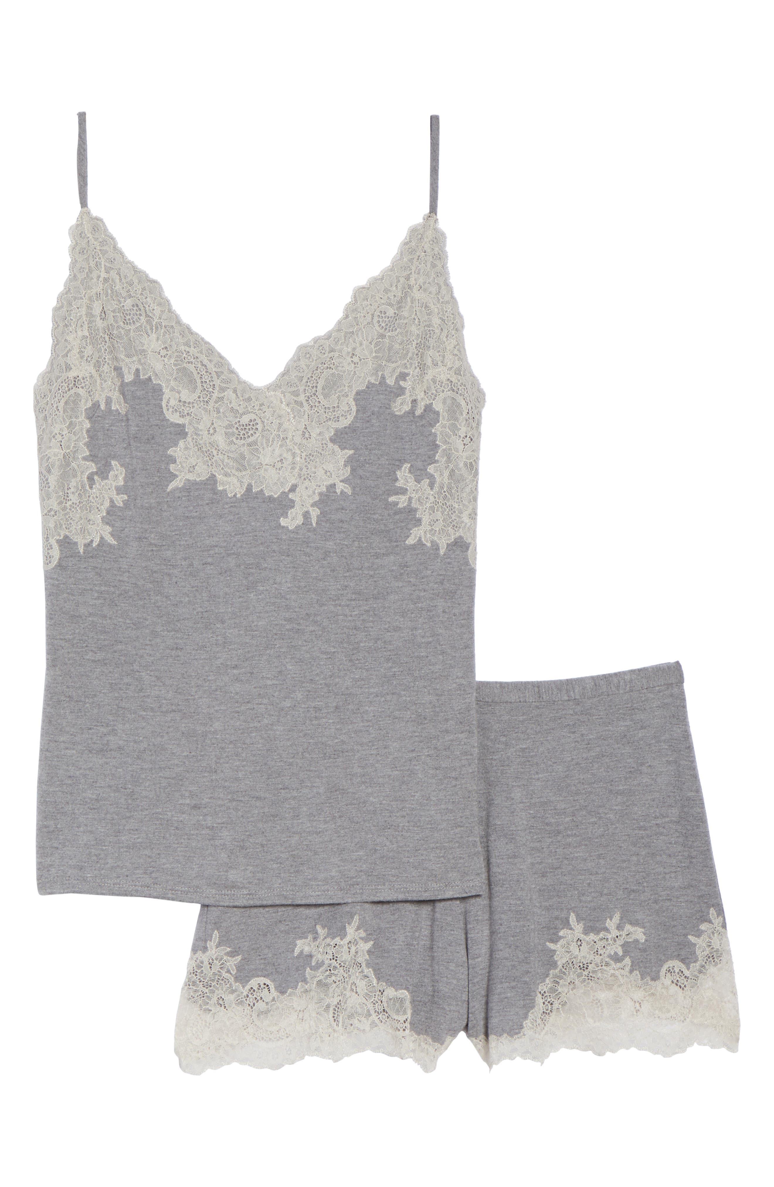 NATORI, Luxe Shangri-La Short Pajamas, Alternate thumbnail 8, color, GREY